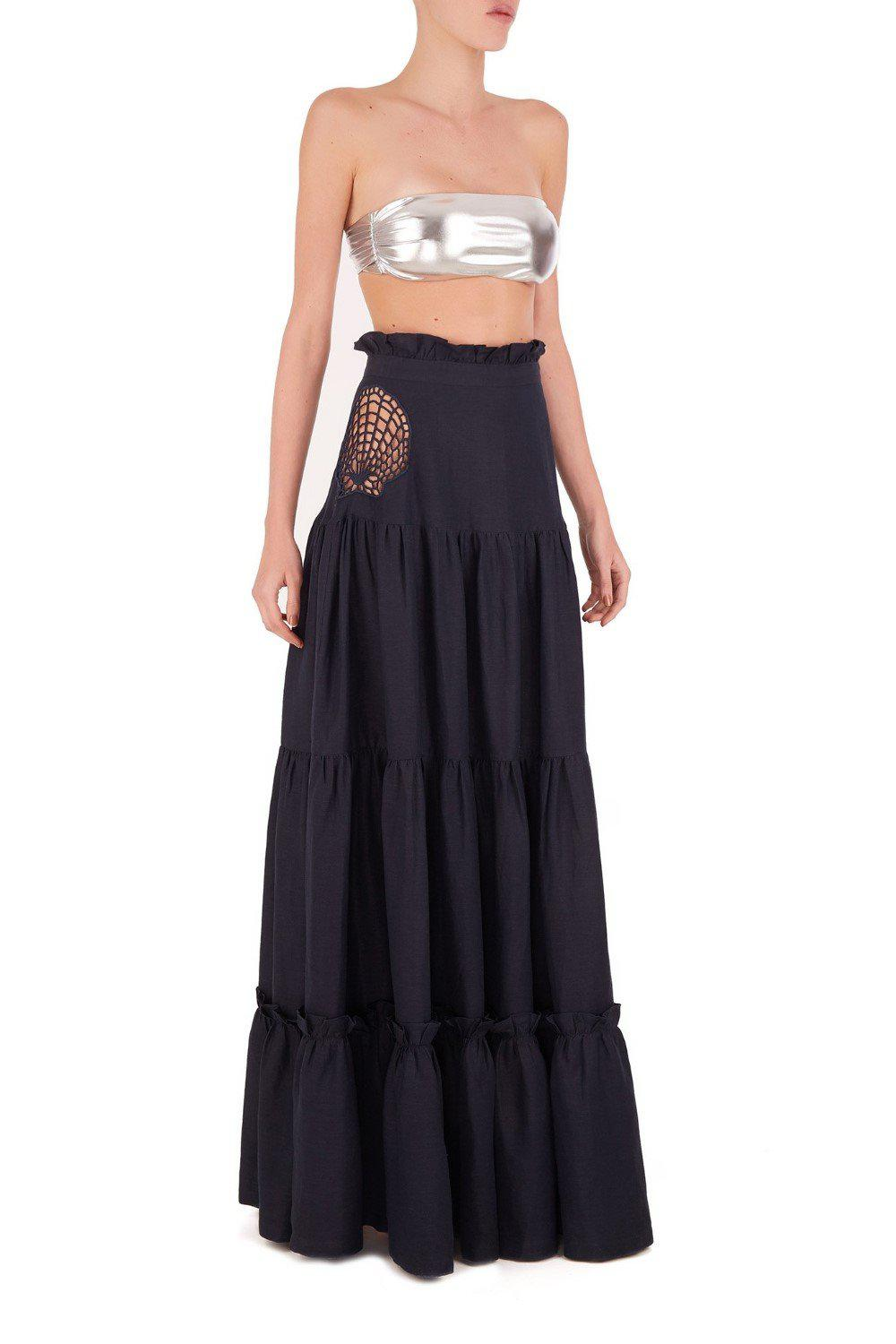 Marine Long Skirt With Seashell Embroidery