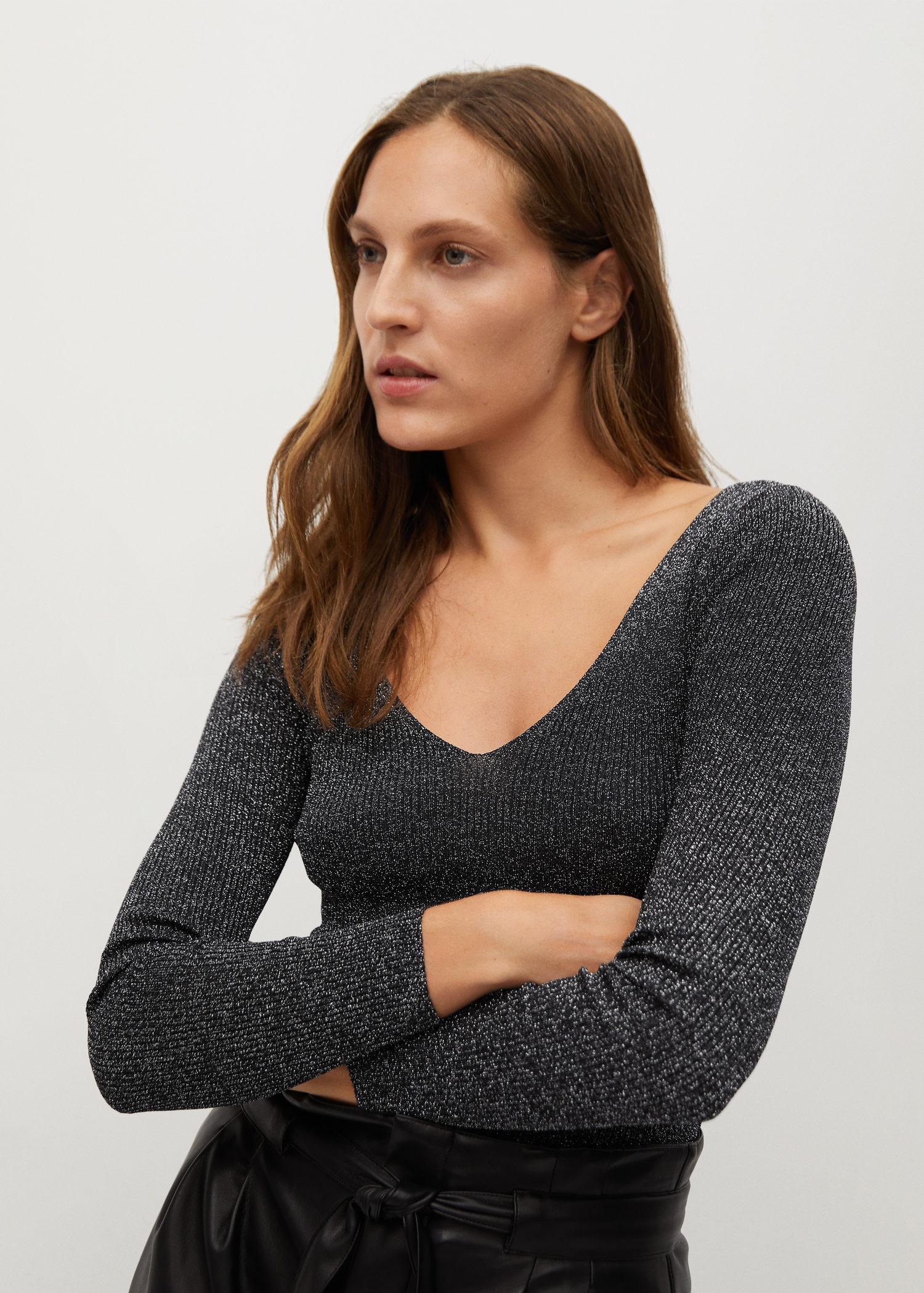 Gloss-effect knitted sweater