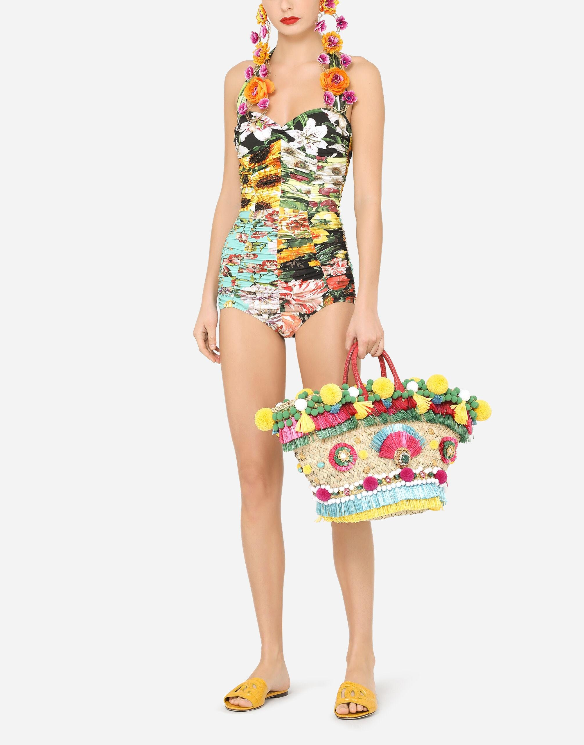 Mixed patchwork-print one-piece swimsuit with draping