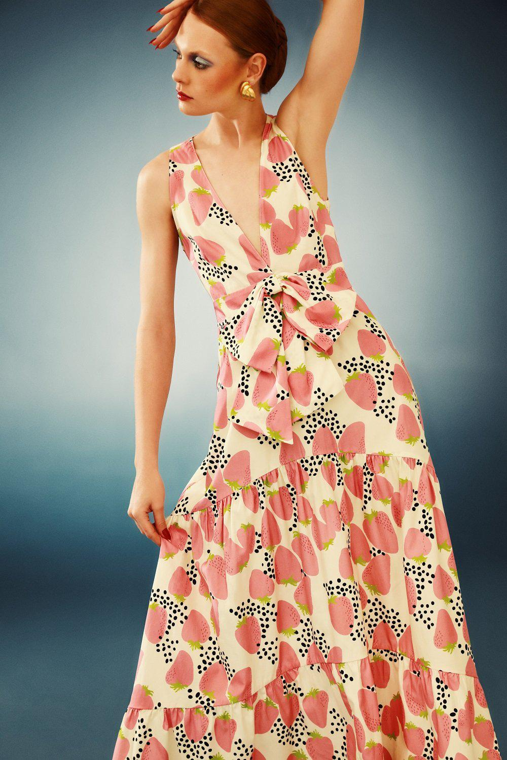 Strawberry Long Dress With Knot