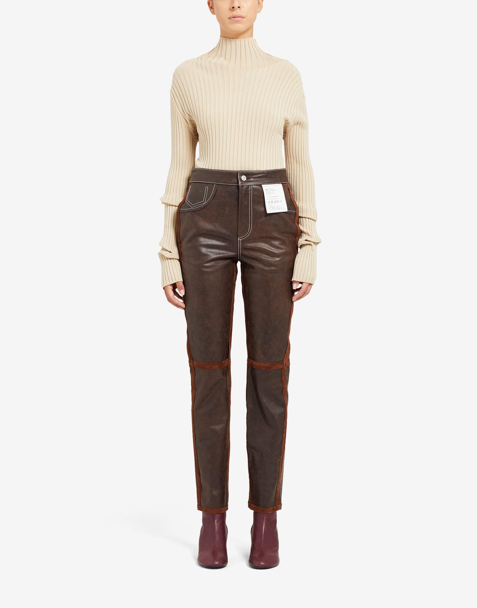 Reversed leather trousers