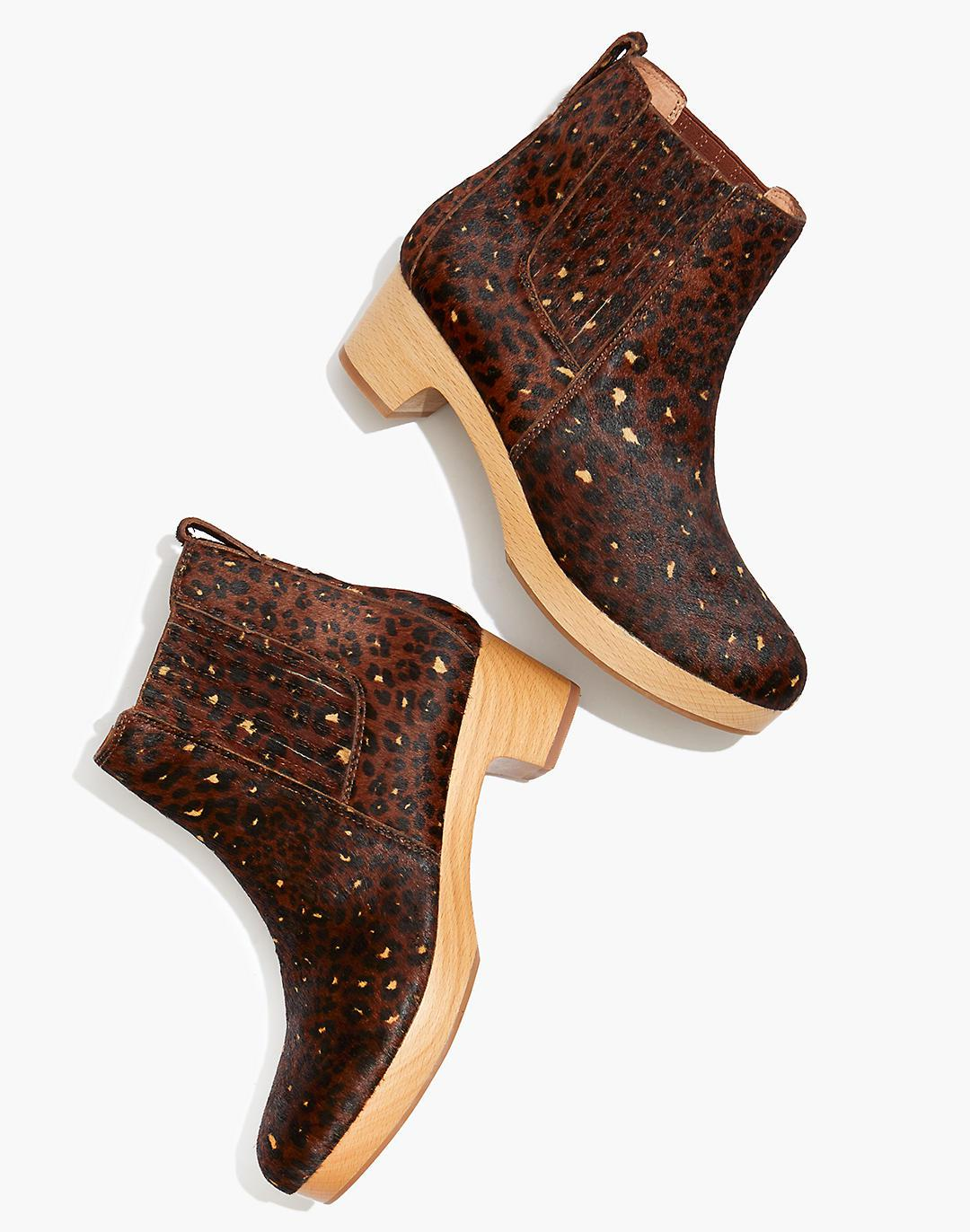 The Clog Boot in Painted Leopard Calf Hair