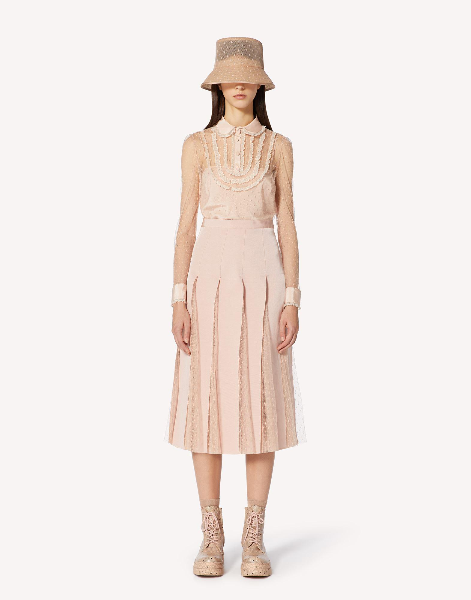 POINT D'ESPRIT TULLE SKIRT WITH GROSGRAIN RIBBONS