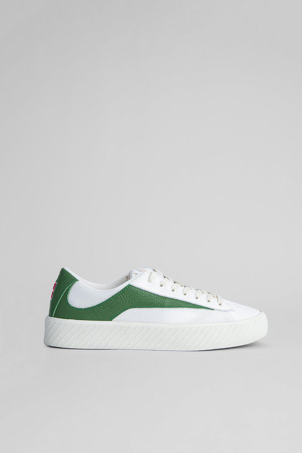 Rodina White and Forest Grained Leather