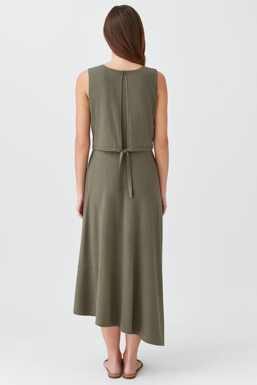 Women's Asymmetrical Overlay Dress in Olive | Size: Small | Organic Pima Cotton by Cuyana 2