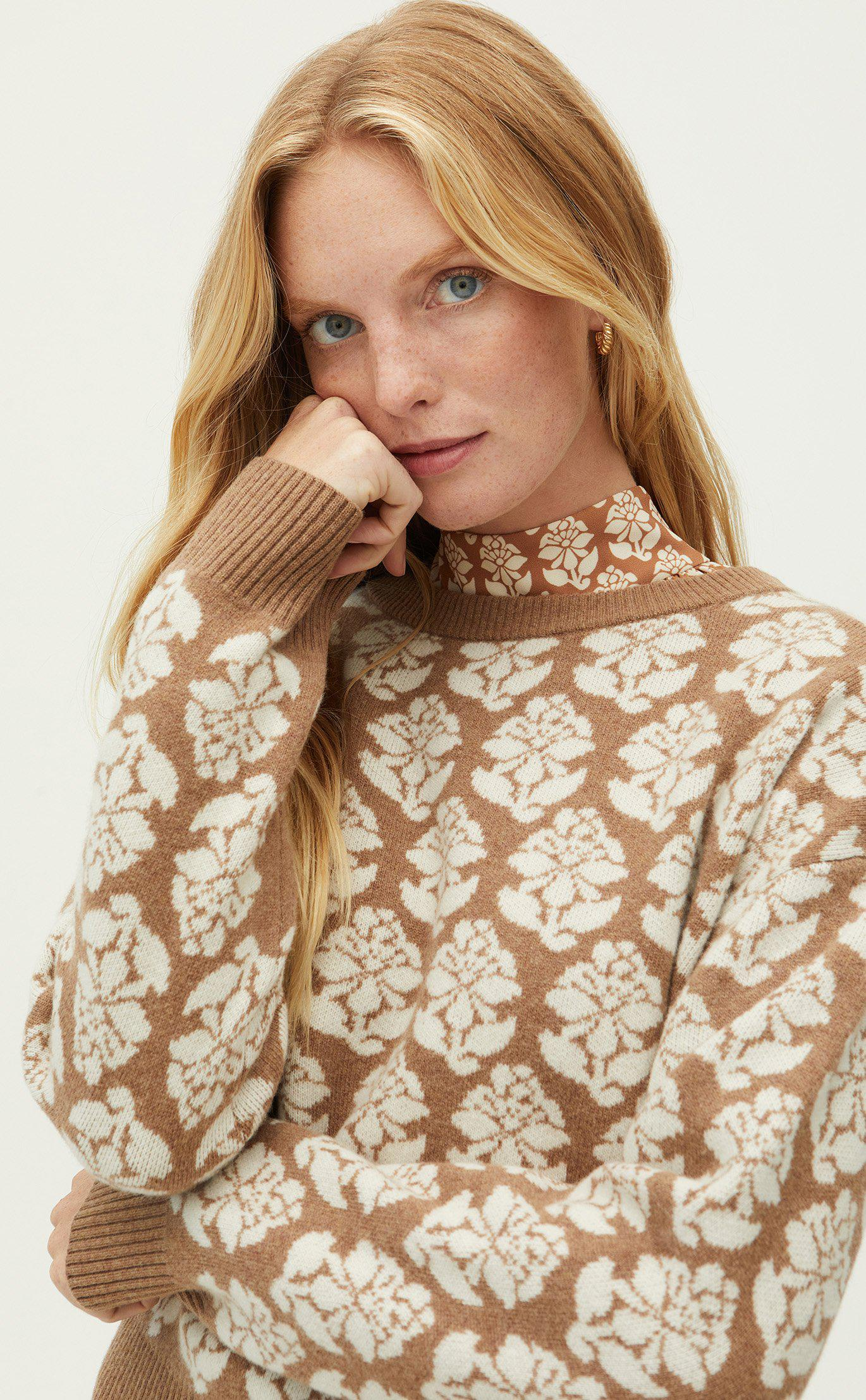 Tate Sweater   Floral Stamp Camel
