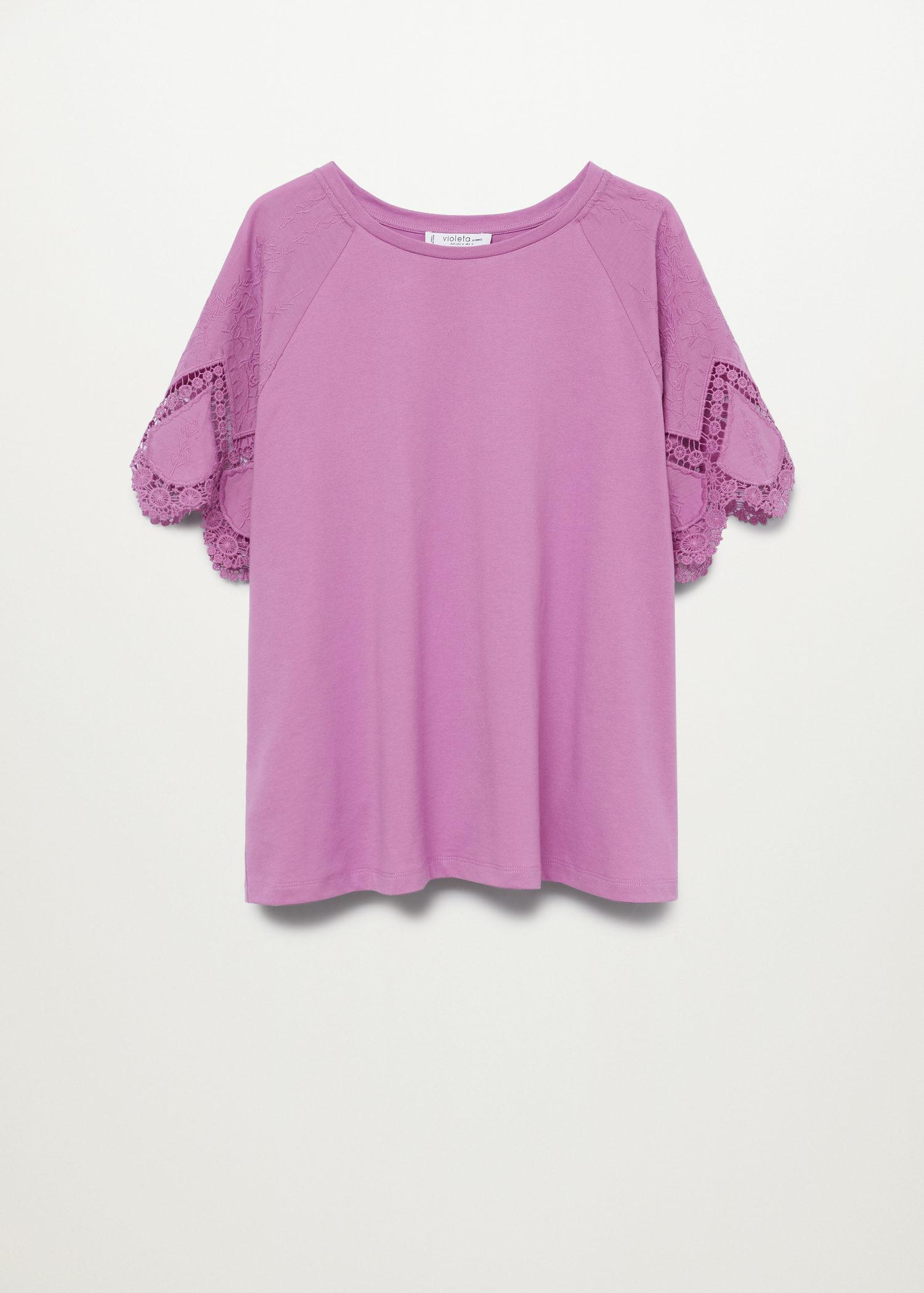 Embroidered sleeve T-shirt 7