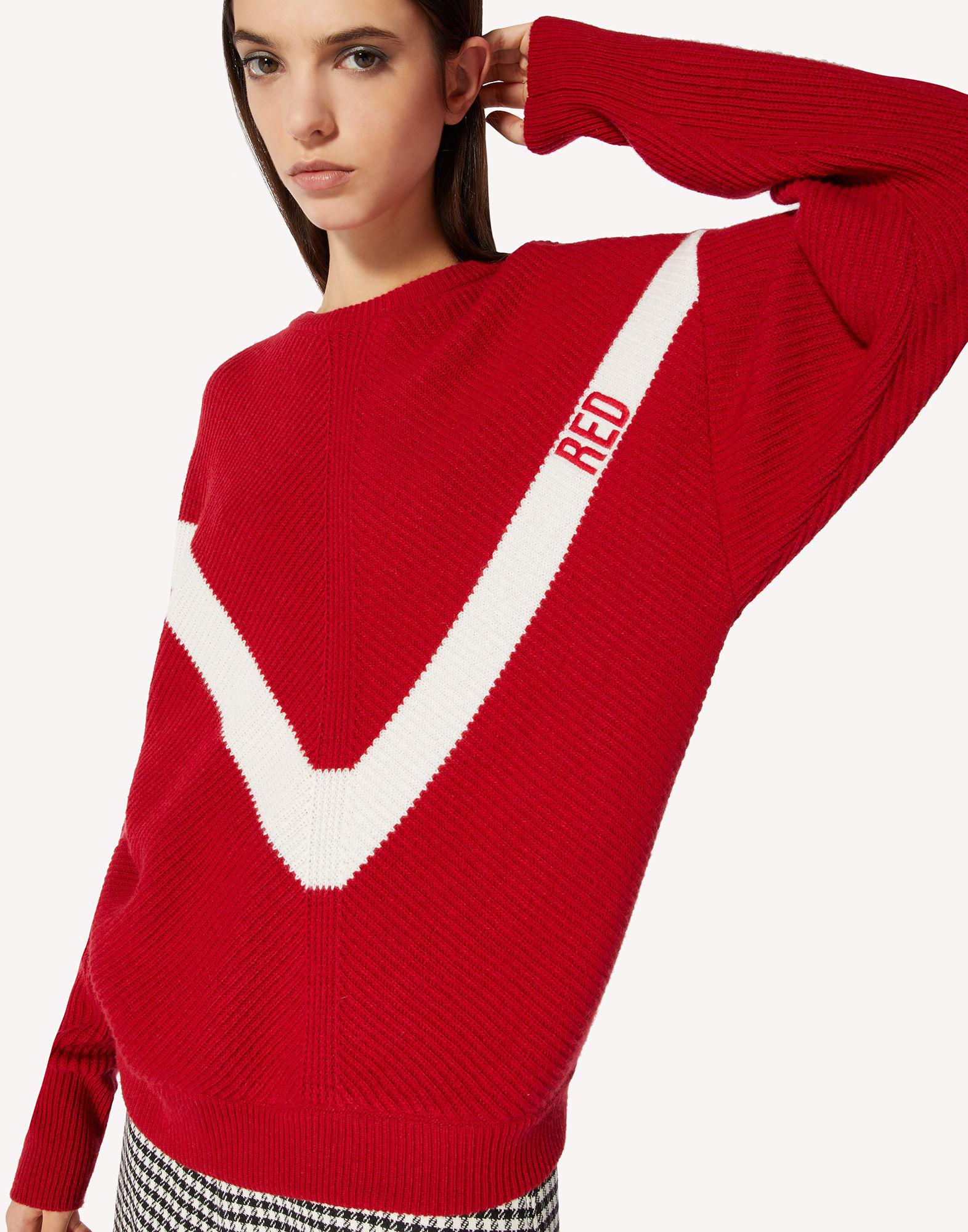 RED EMBROIDERED WOOL-BLEND SWEATER 3