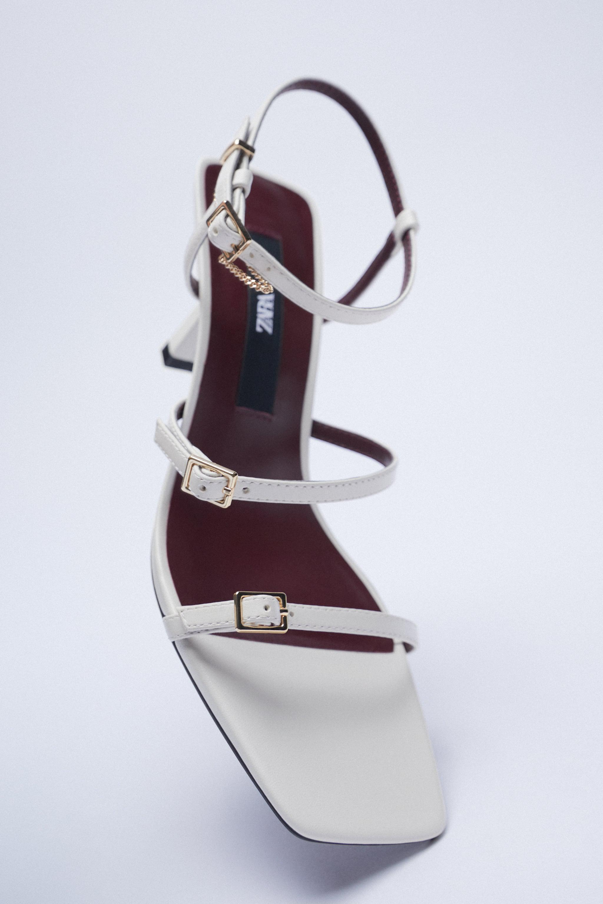 LEATHER HIGH HEEL STRAPPY SANDALS WITH BUCKLES 8