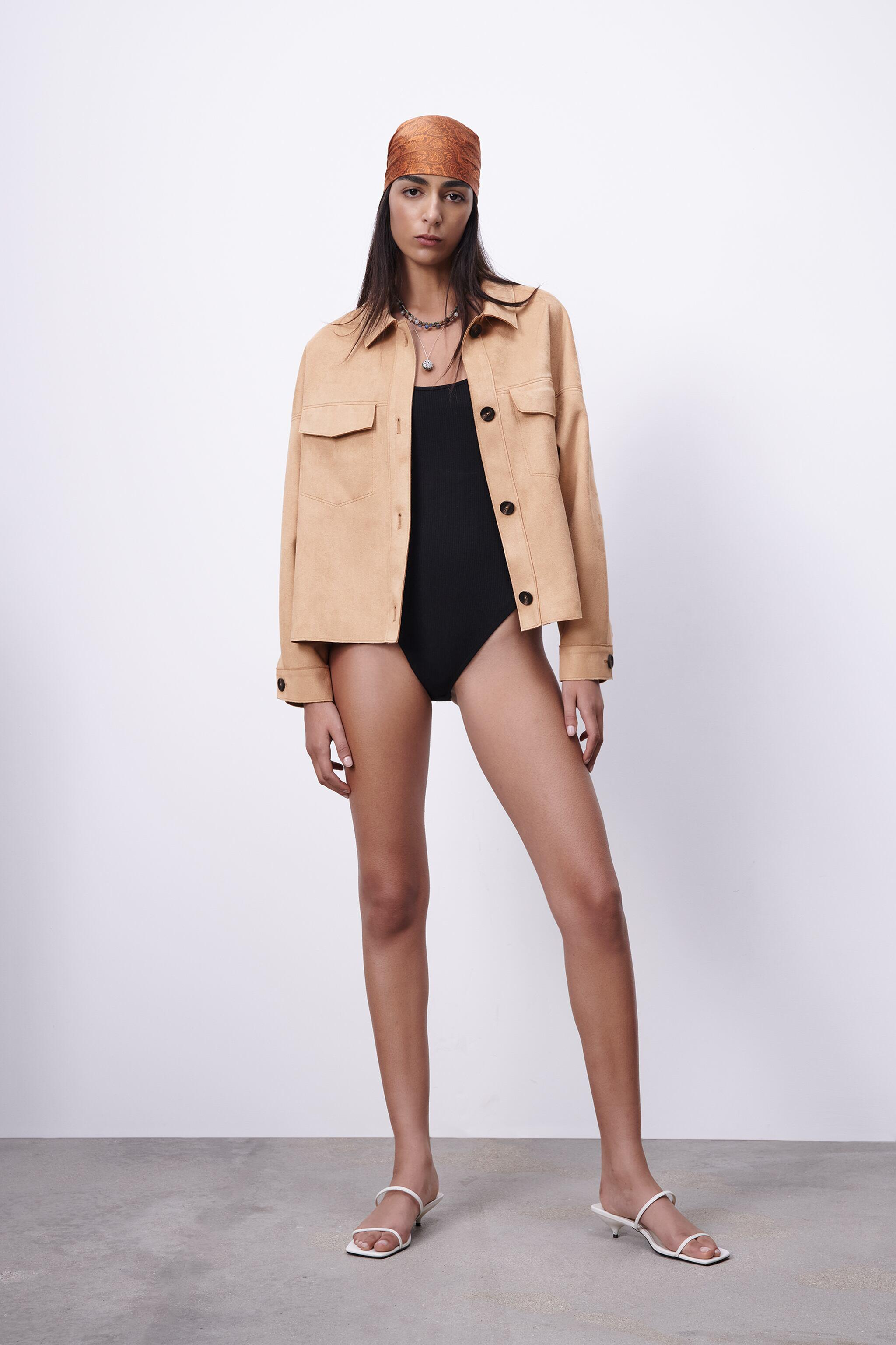 FAUX SUEDE CROPPED OVERSHIRT