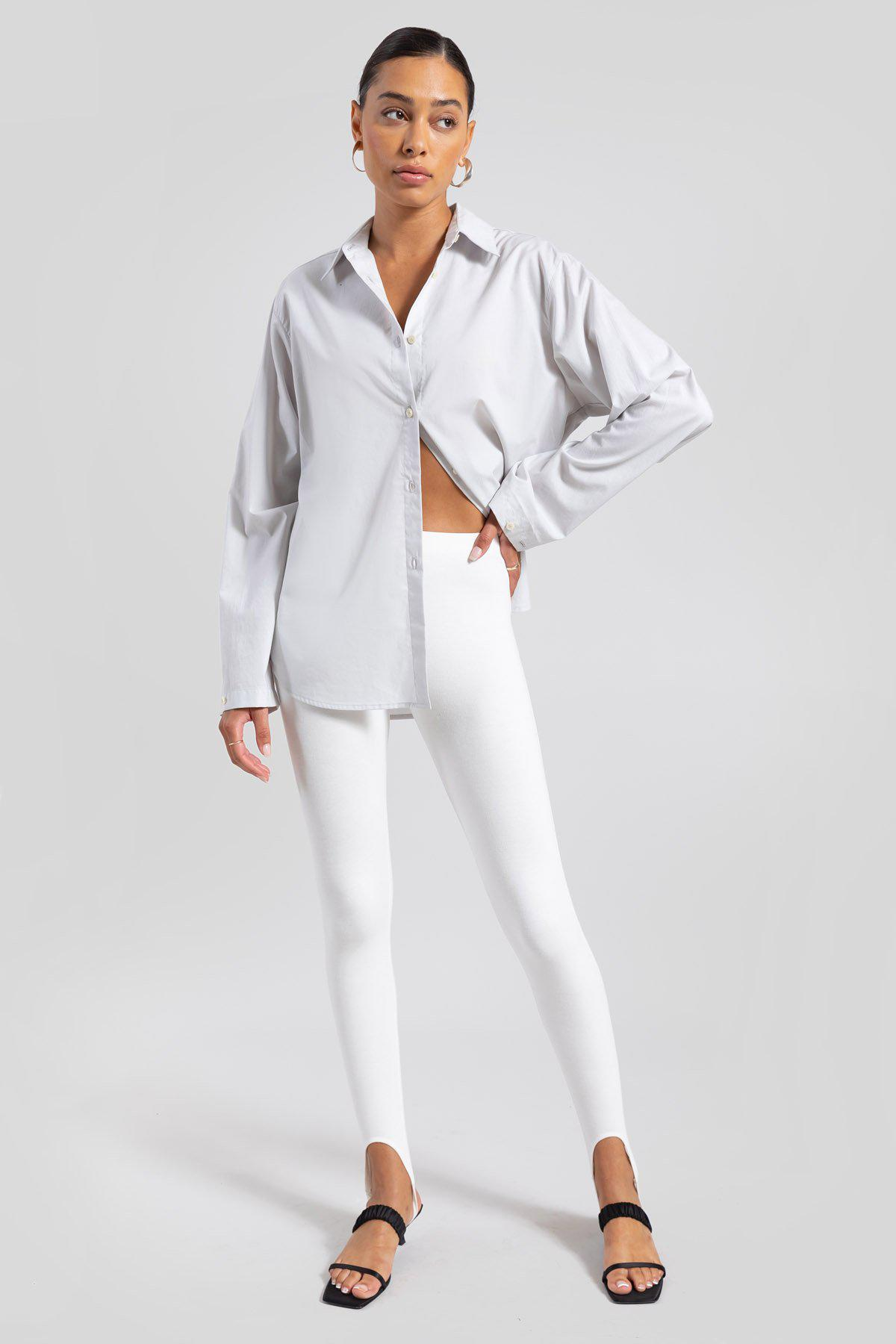Elle Oversized Button Down - Pearl 1