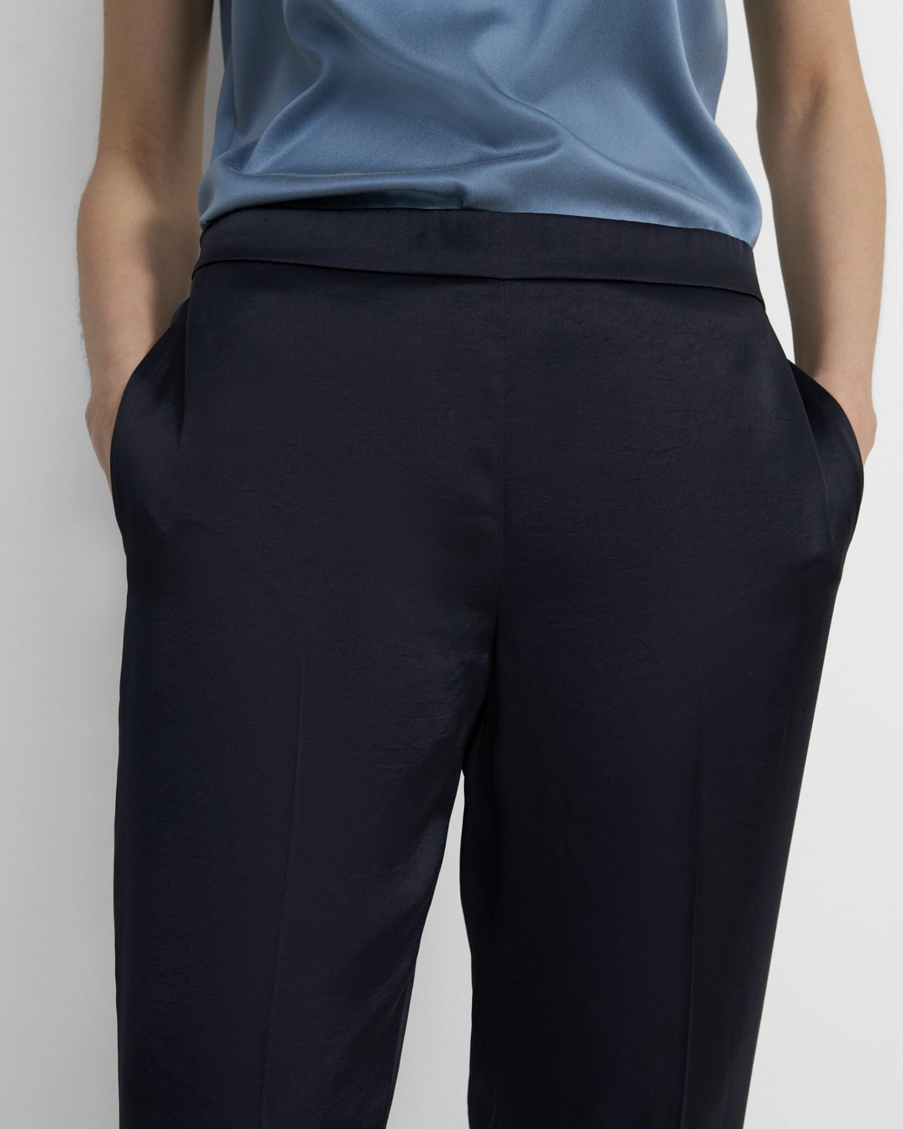 Straight-Leg Pull On Pant Pant in Crushed Satin 1