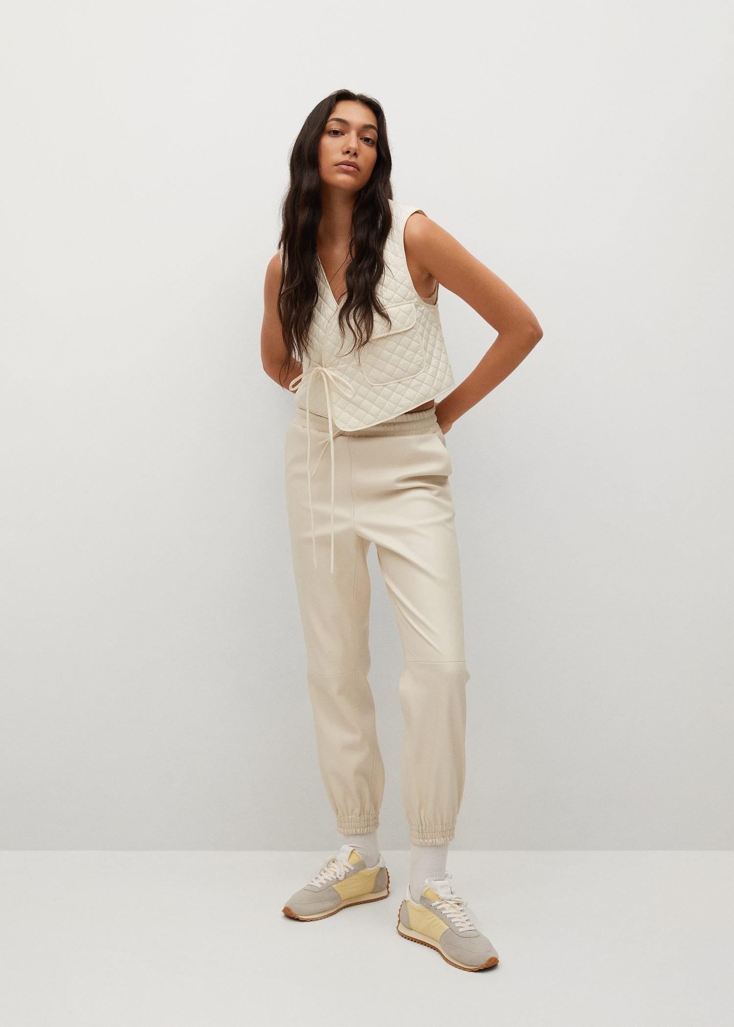 Leather-effect elastic waist trousers 1
