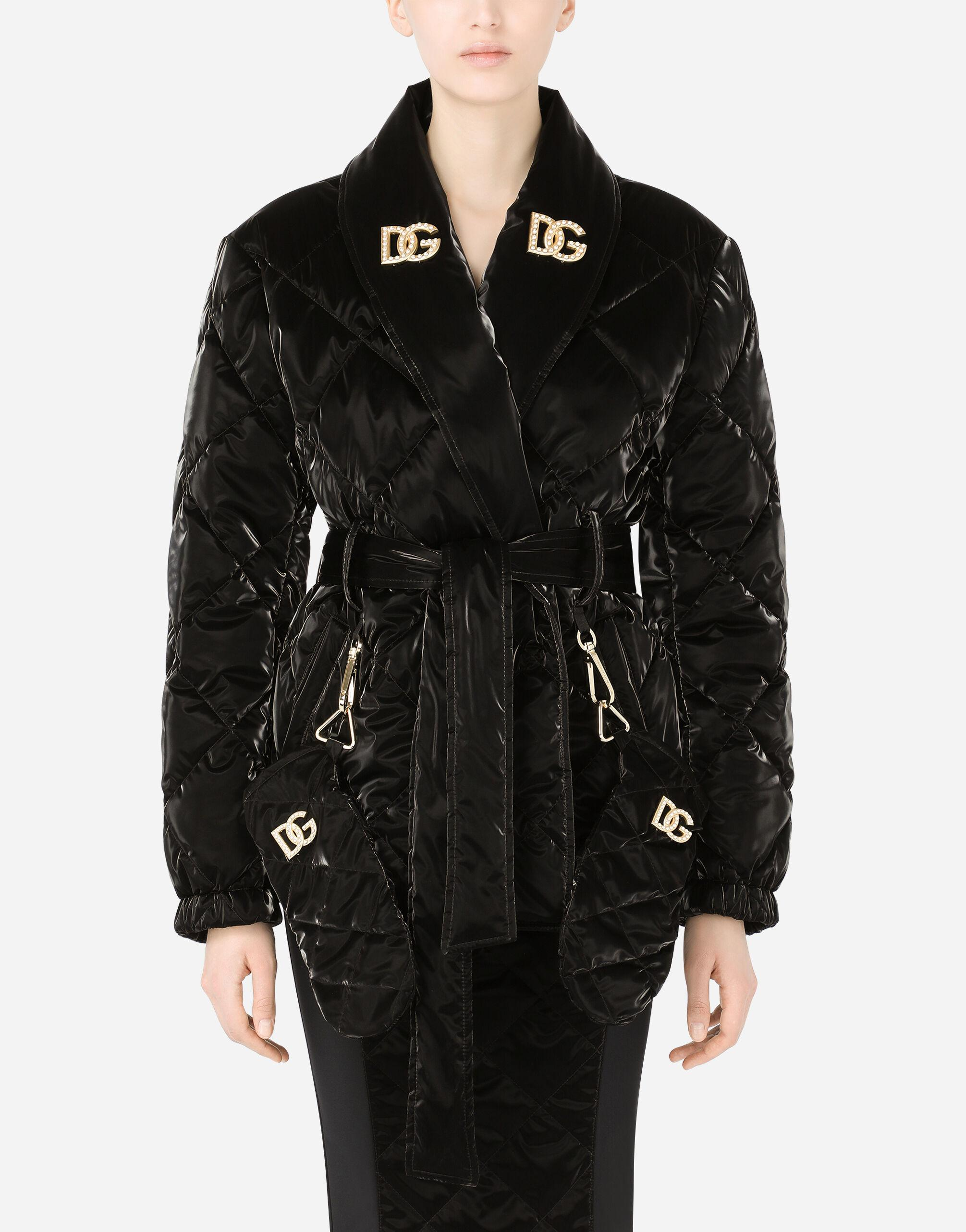 Coated quilted fabric jacket with gloves and DG crystal embellishment