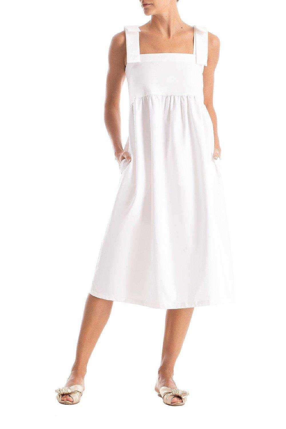 Solid Midi Dress With Straps