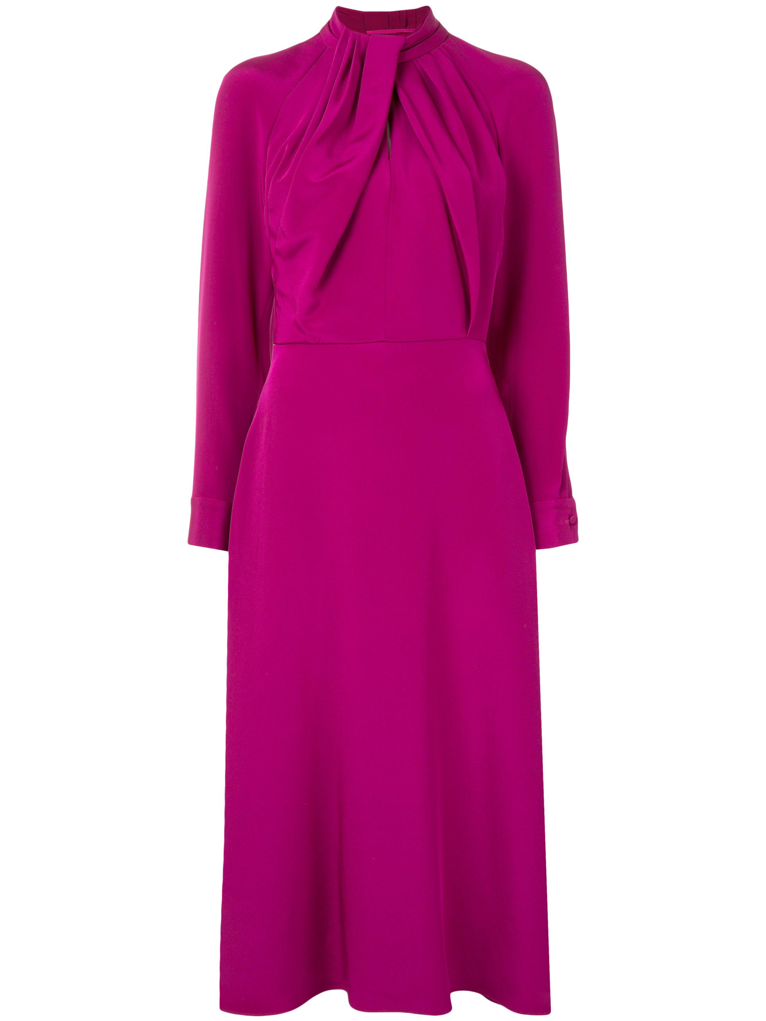 LONG SLEEVE DRESS WITH NECK TWIST IN SILK CREPE 1