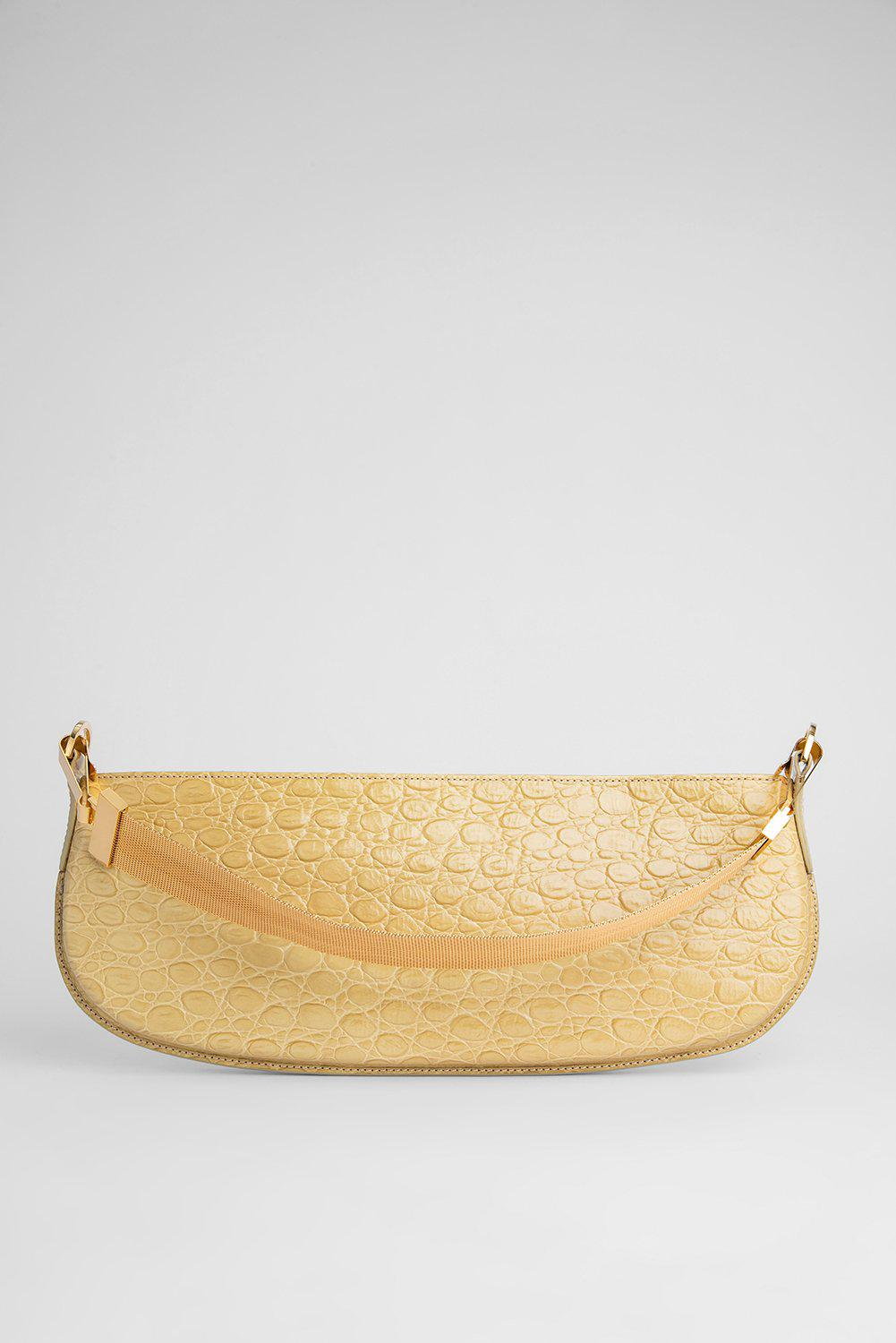 Beverly Flax Circular Croco Embossed Leather