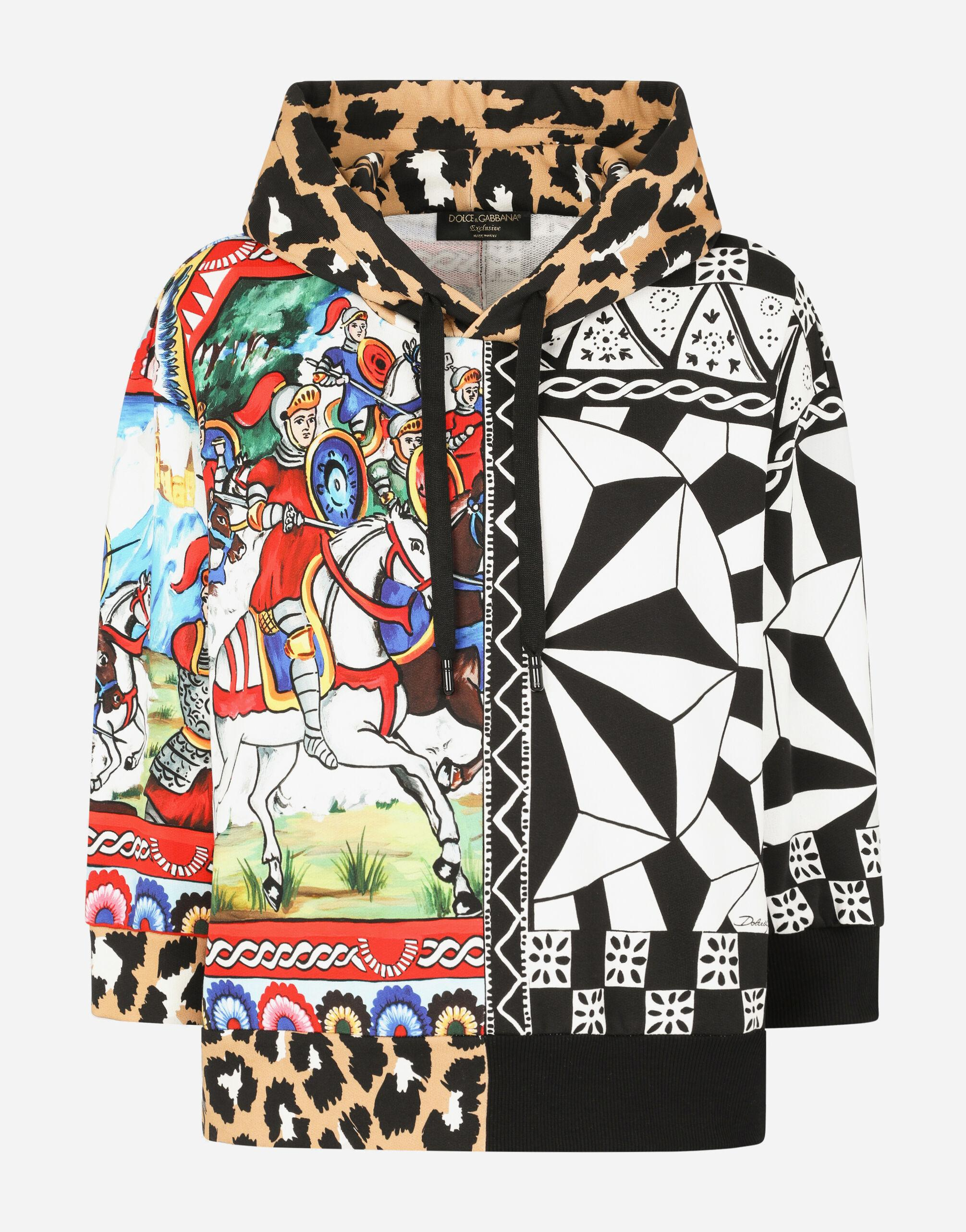 Jersey hoodie with patchwork print 5