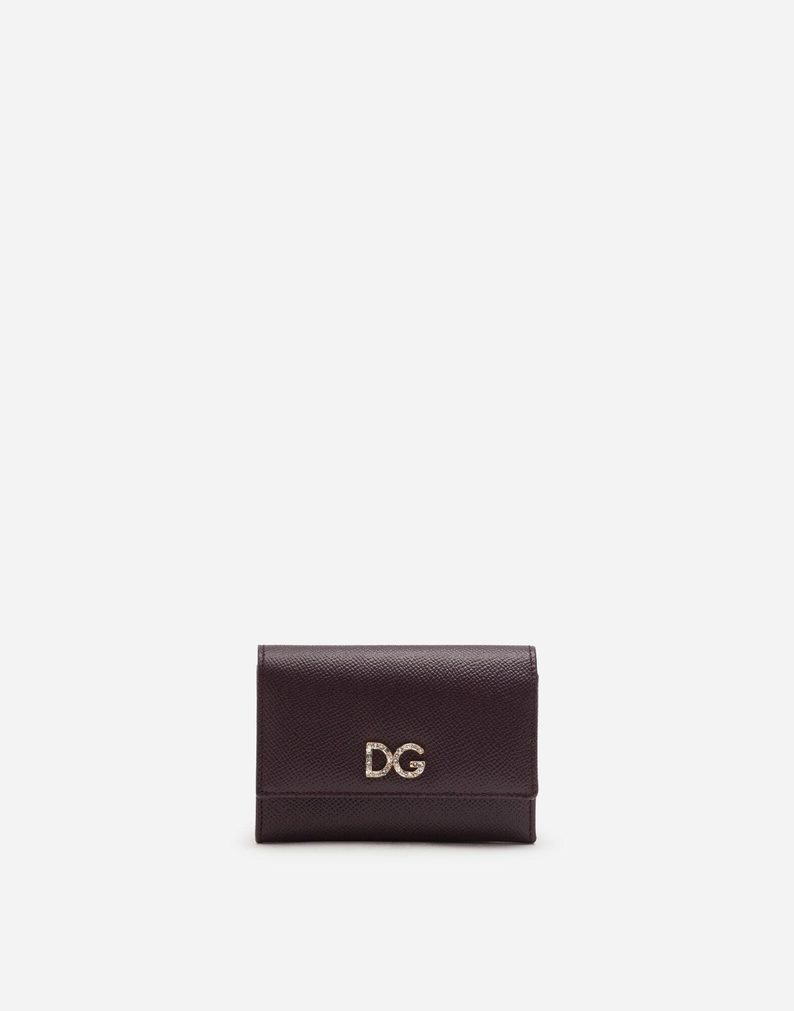 Small continental wallet with DG rhinestones in dauphine calfskin