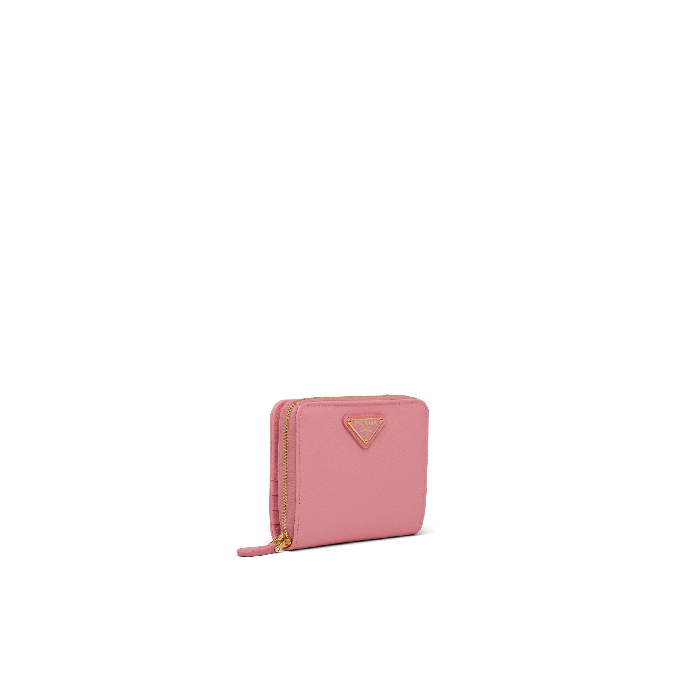Small Saffiano Leather Wallet Women Petal Pink 3