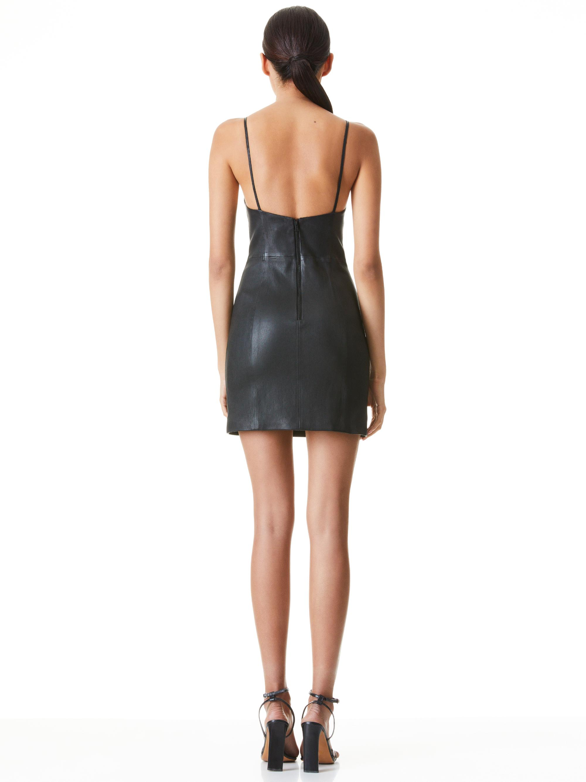 NELLE FITTED LEATHER MINI DRESS 1