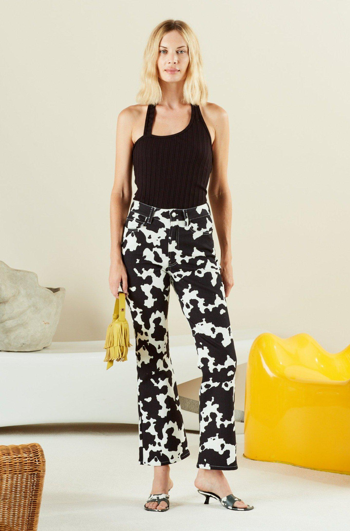 Cropped Bell Jean in Cow Print