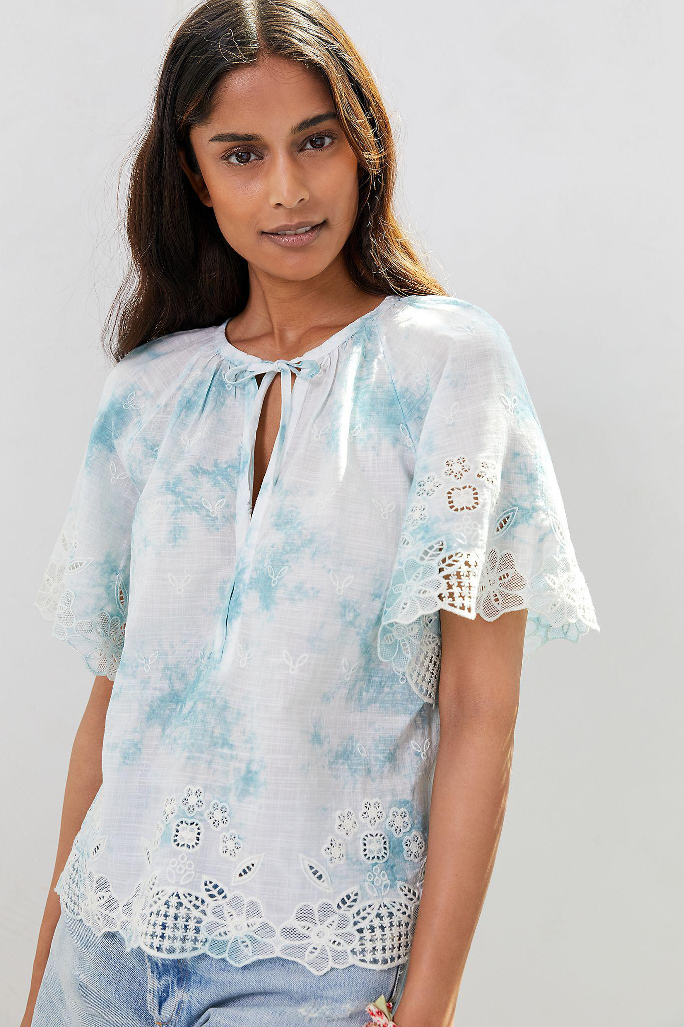 Embroidered Tie-Dye Blouse