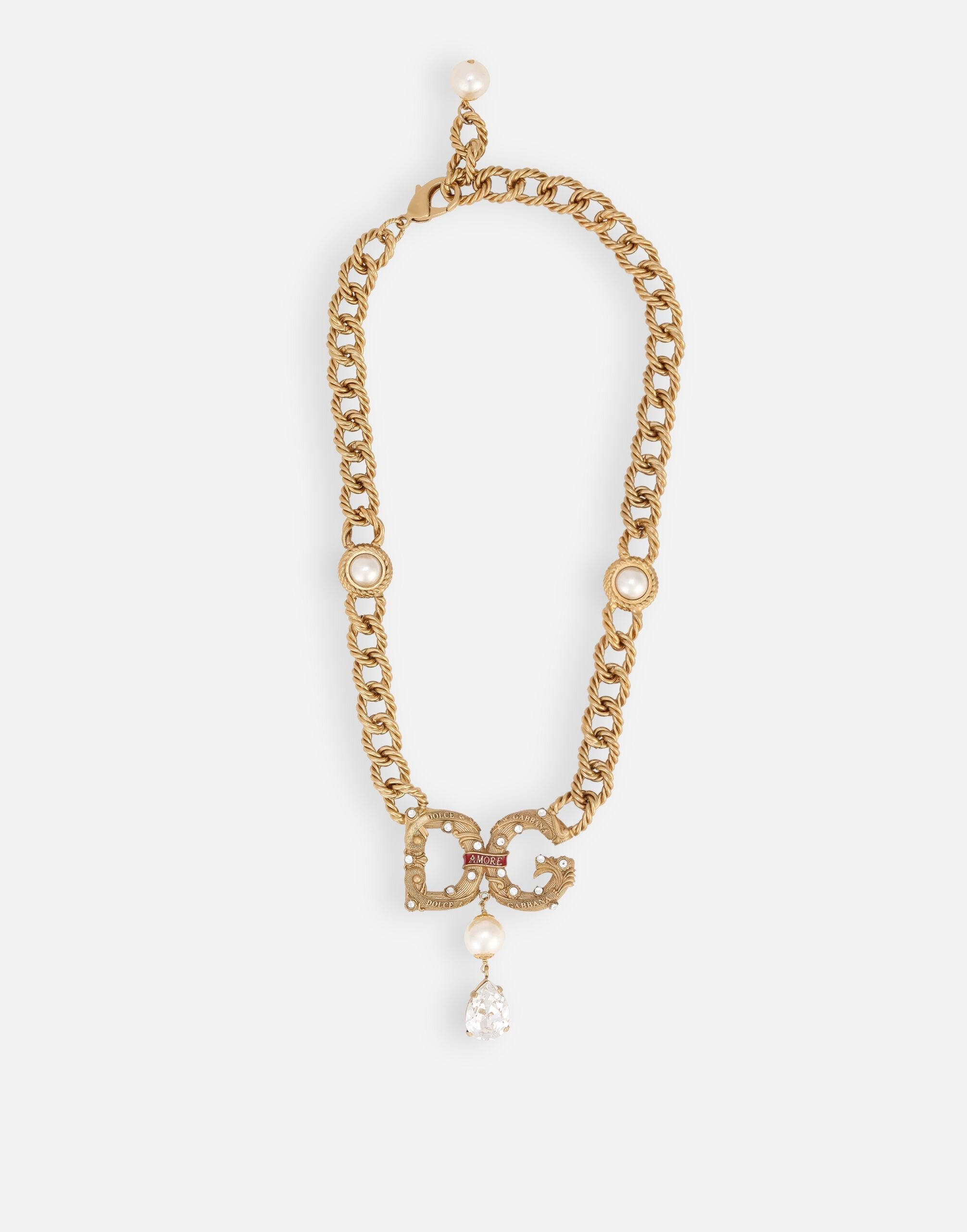 Chain necklace with DG logo and rhinestone pendants