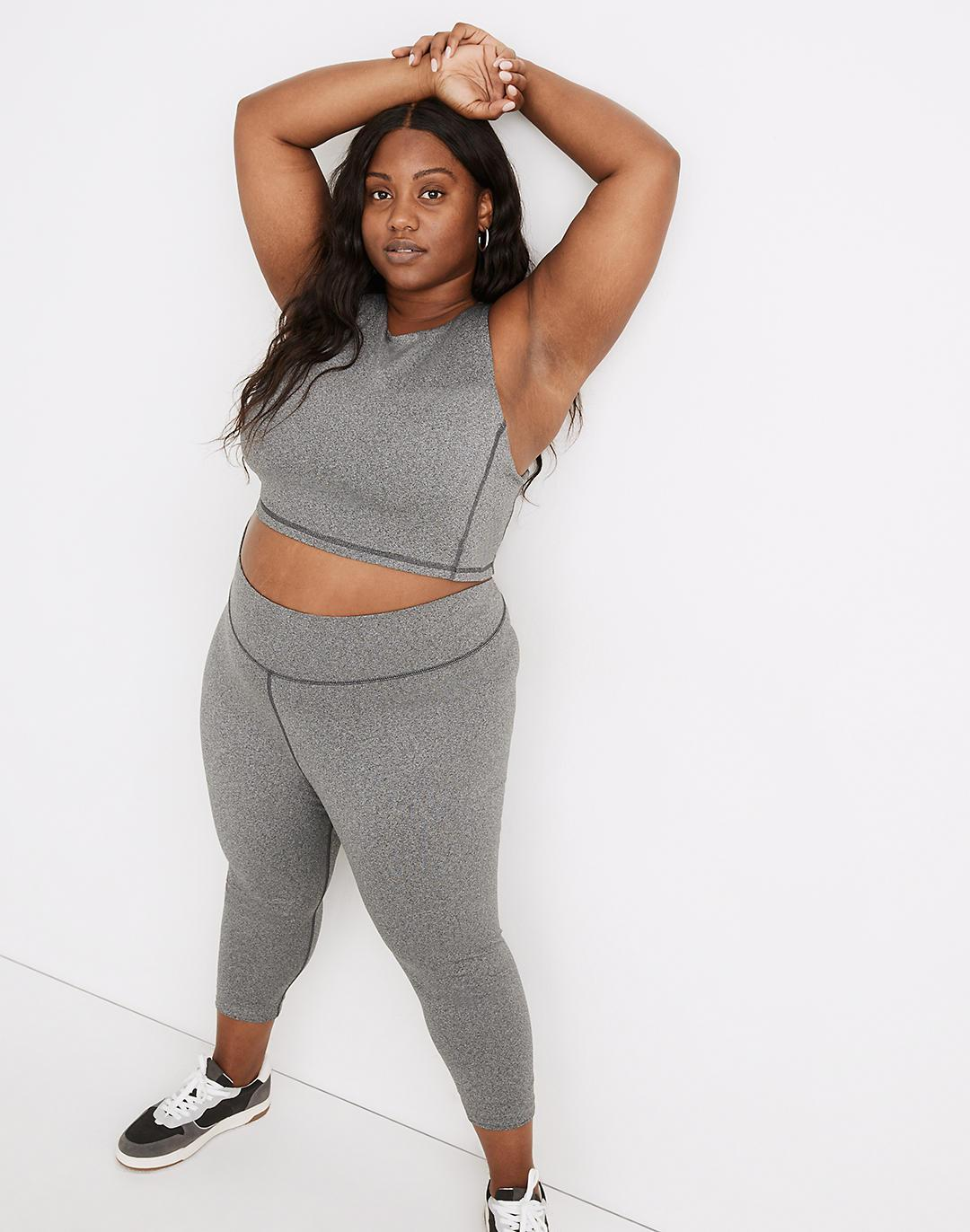 """Plus MWL Form High-Rise 23"""" Leggings in Heathered Charcoal"""