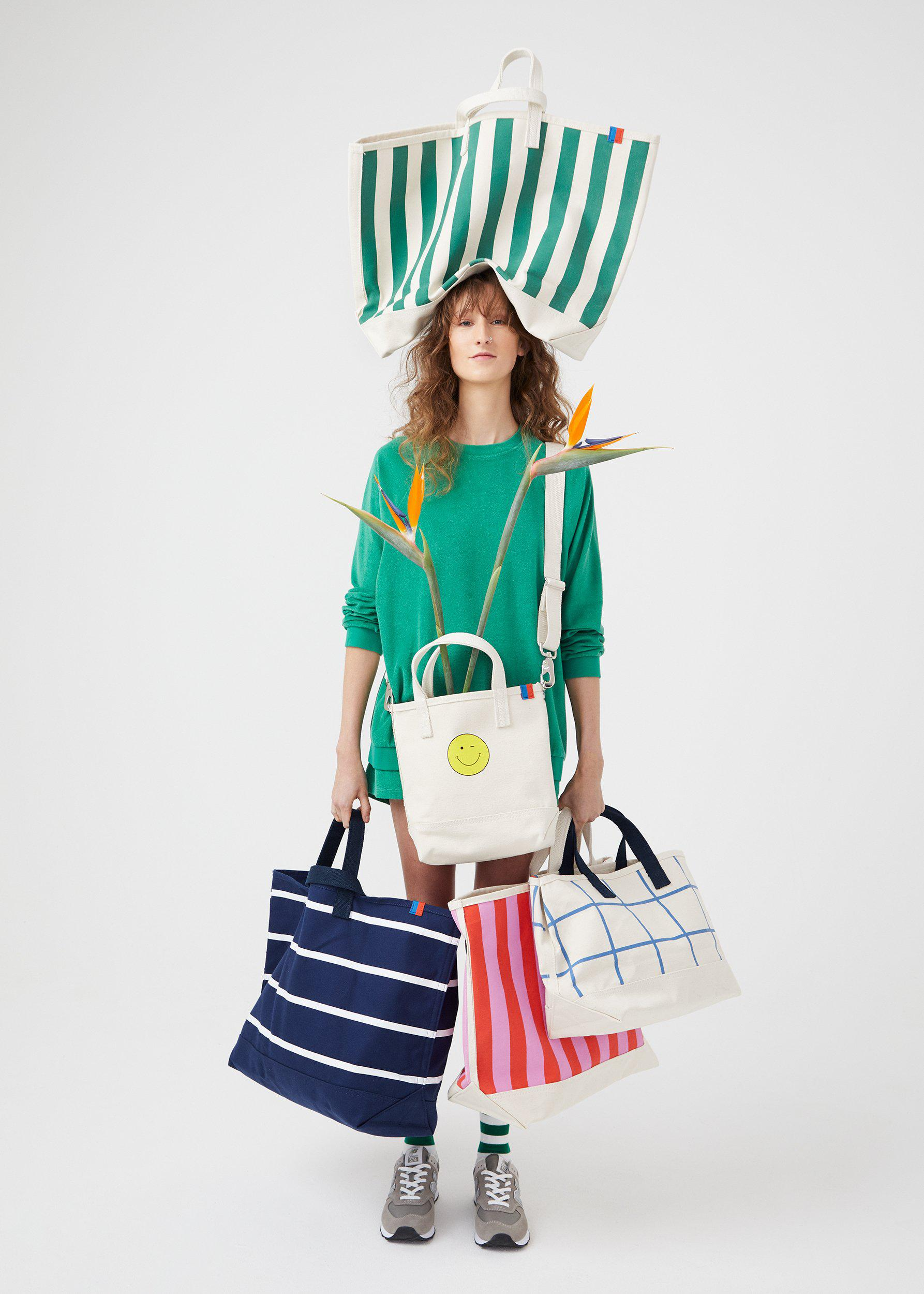 The All Over Striped Tote - Canvas/Green 1