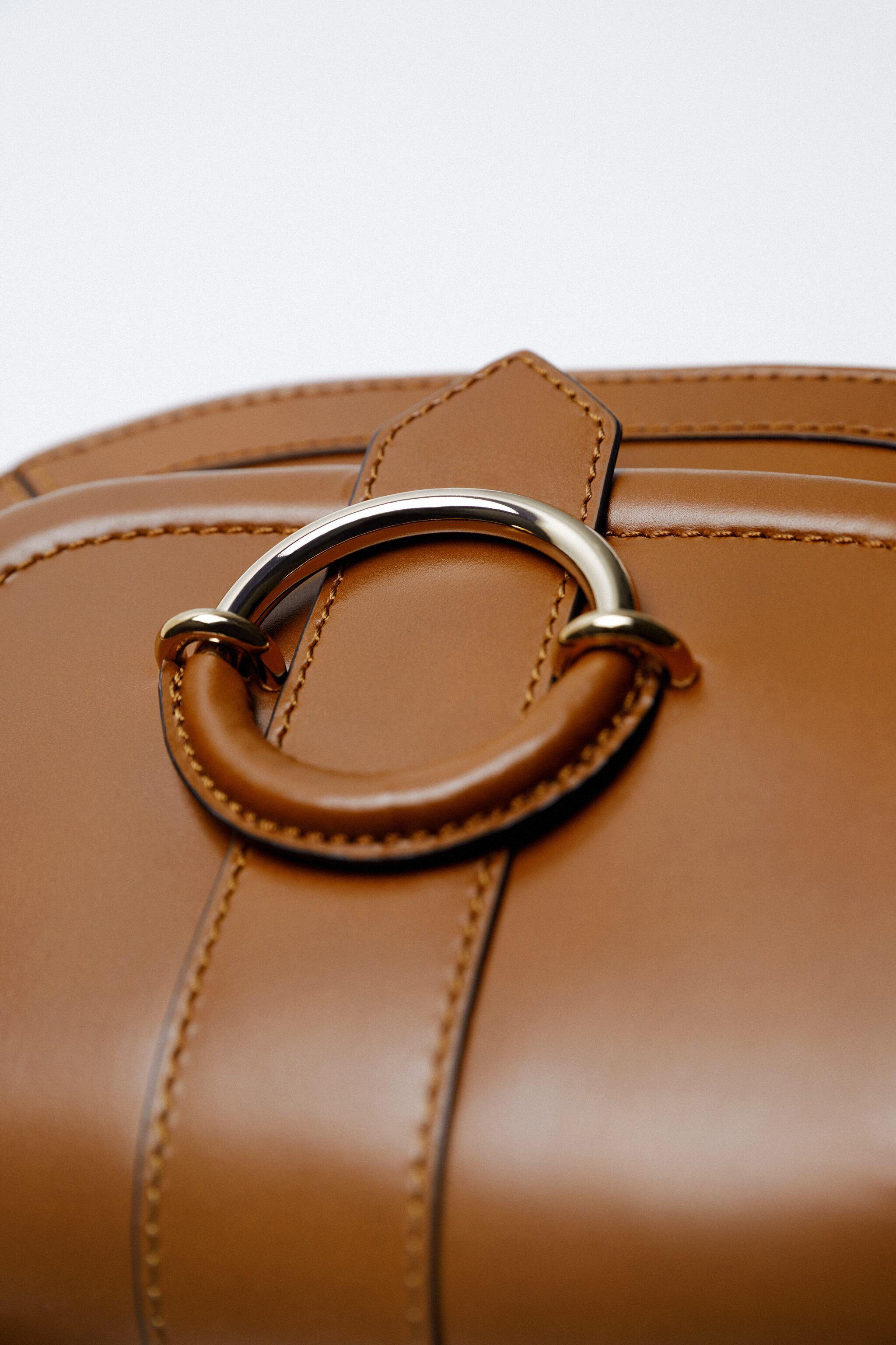 OVAL LEATHER CROSSBODY BAG WITH BUCKLE 5