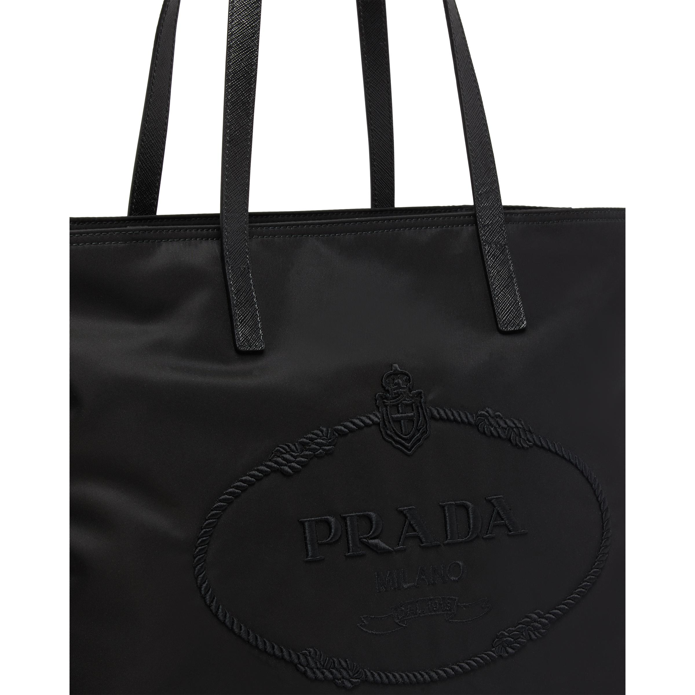 Nylon Tote With Embroidered Logo Women Black 1