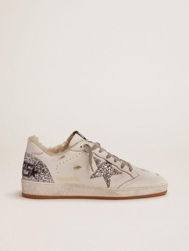 Ball Star sneakers in white leather with silver glitter details and shearling lining