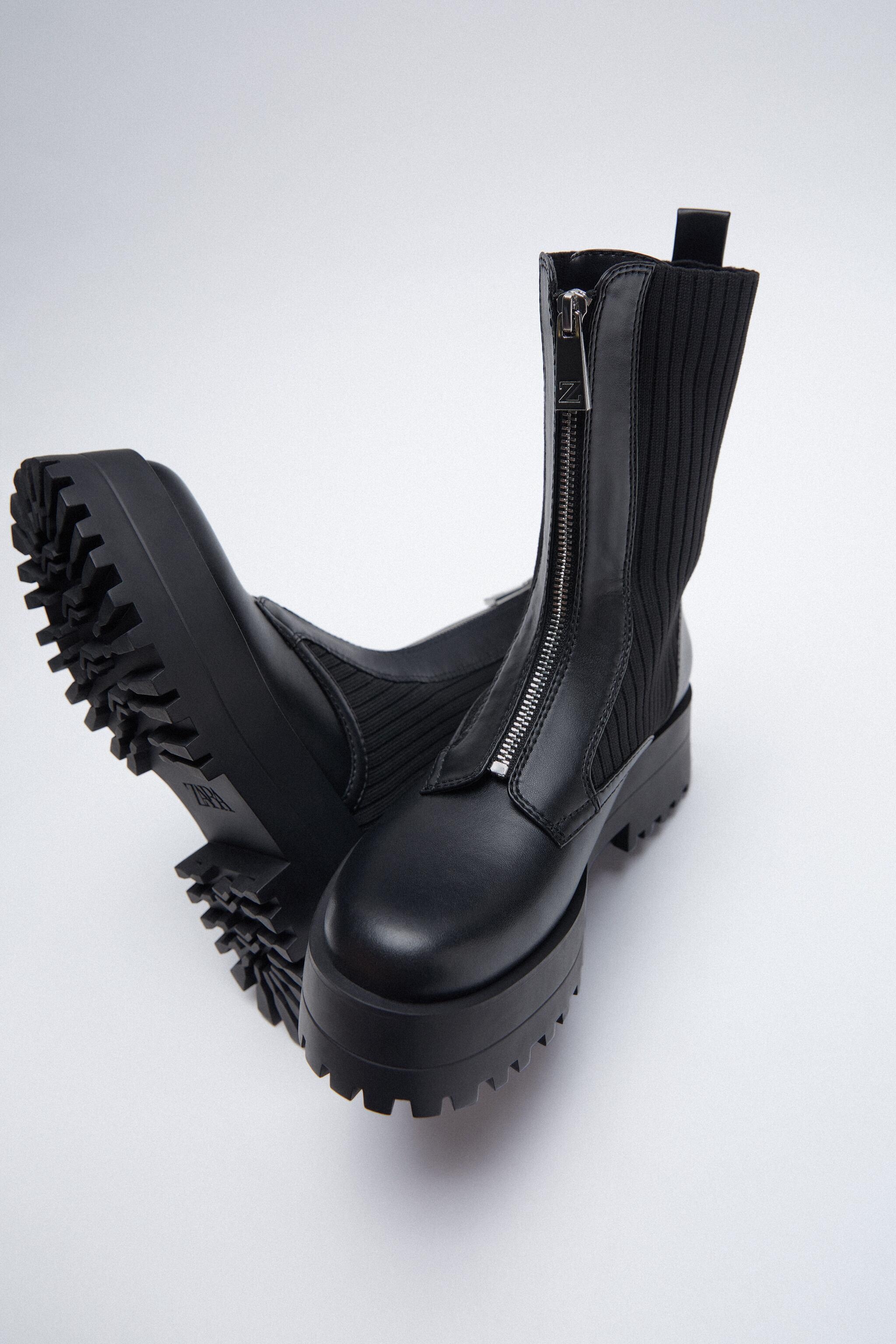 LOW HEELED SOCK-STYLE ZIP ANKLE BOOTS TRF 4