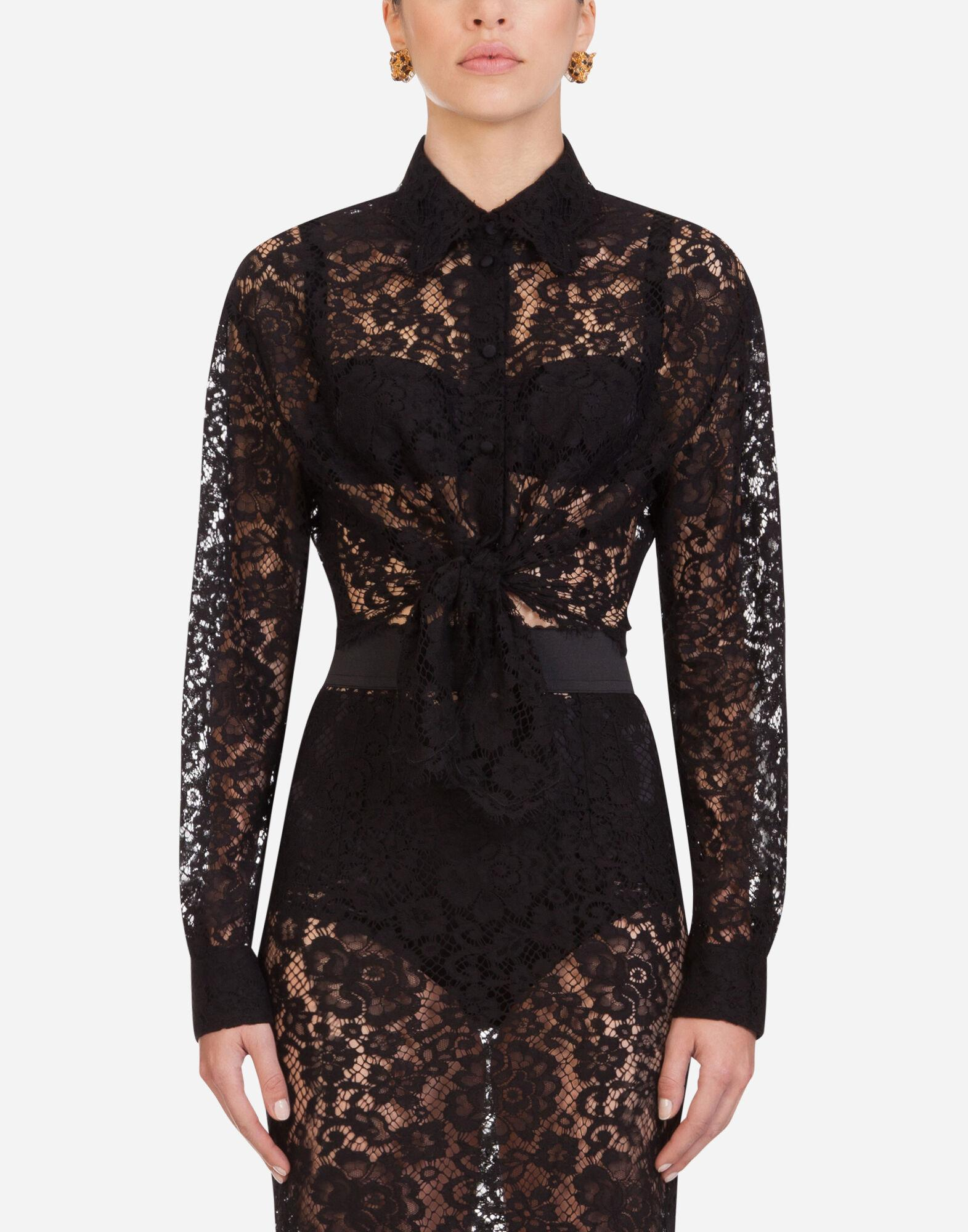 Short lace shirt with bow