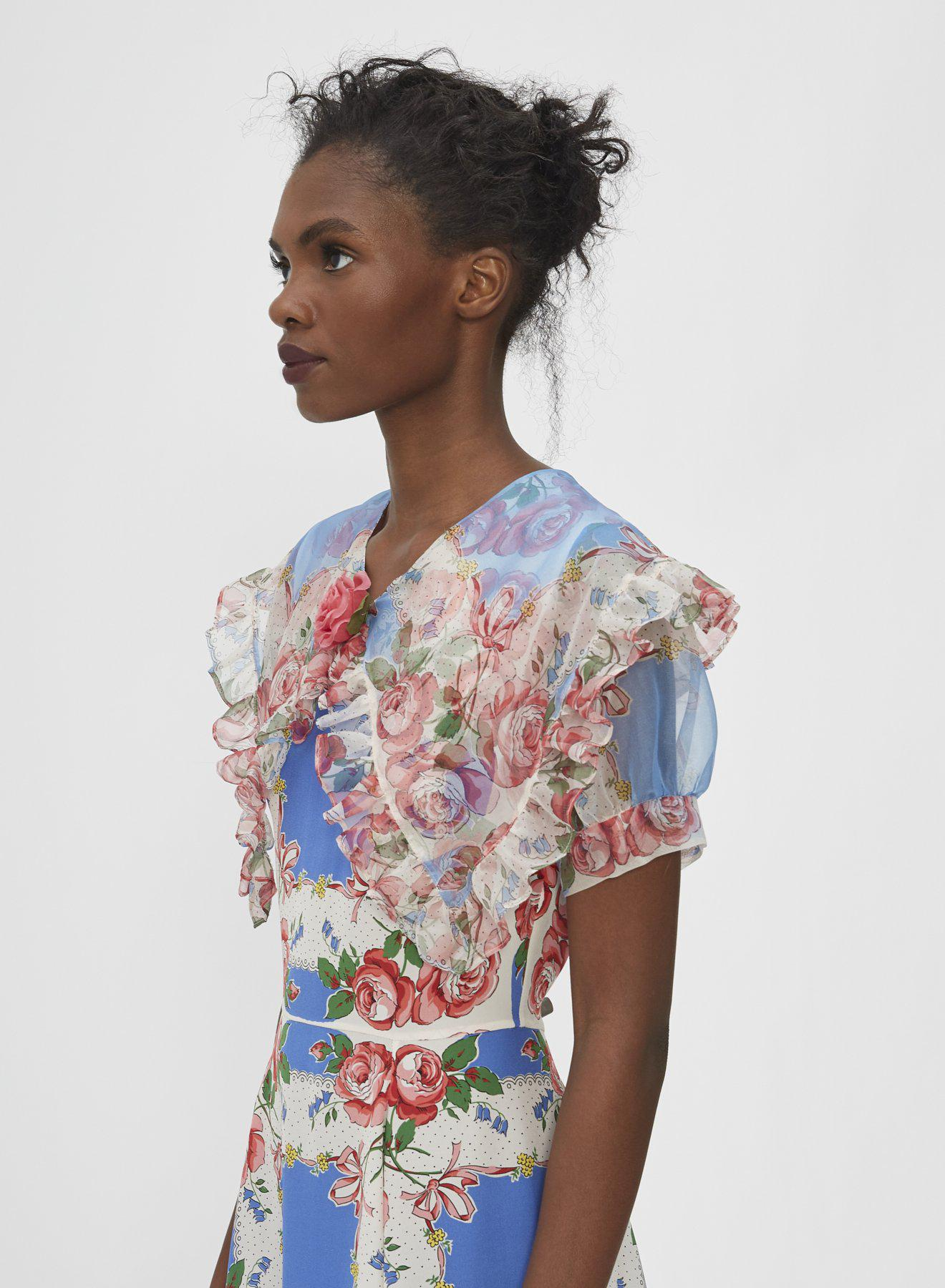 FLORAL PRINTED SILK DRESS WITH RUFFLE COLLAR 3