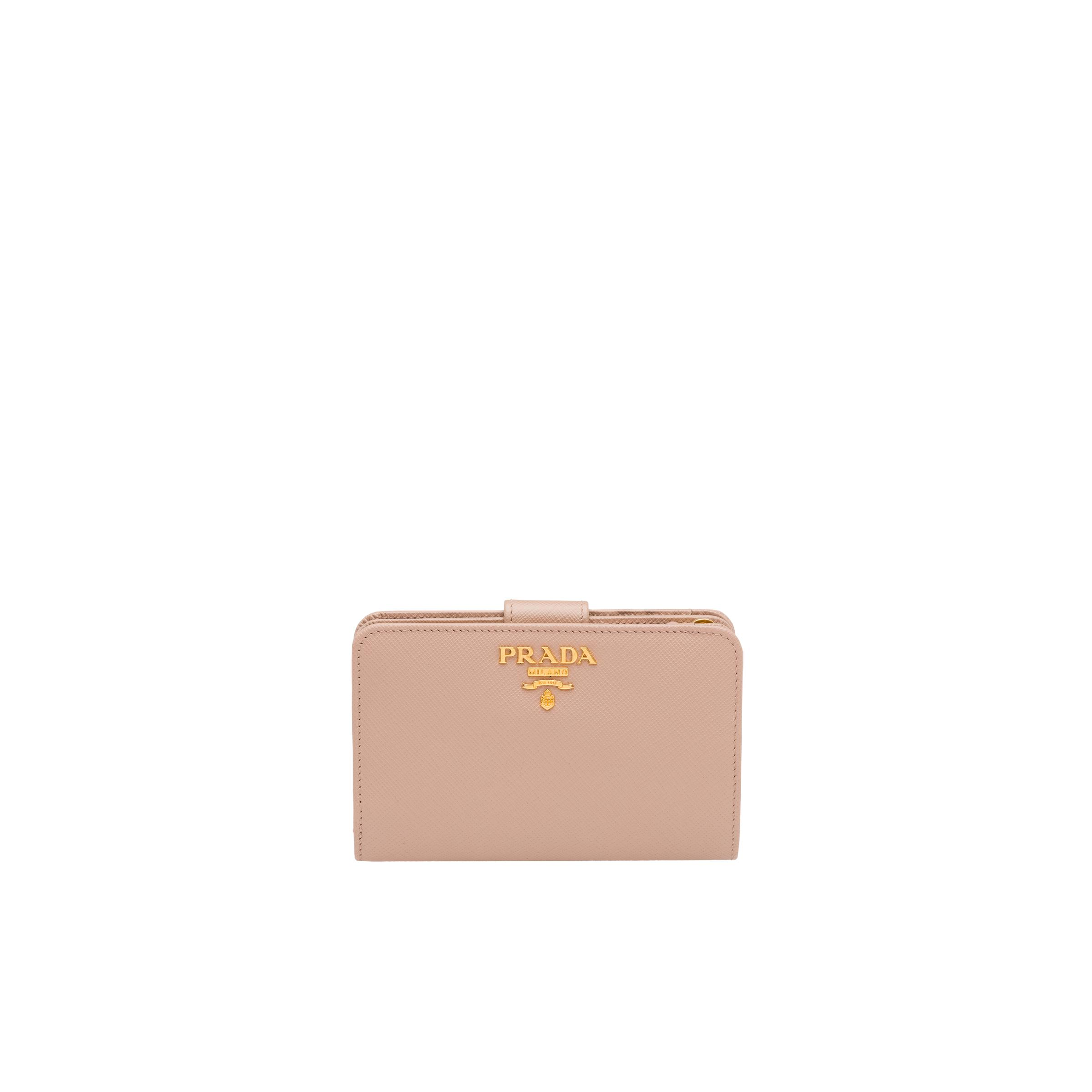 Small Saffiano Leather Wallet Women Powder Pink