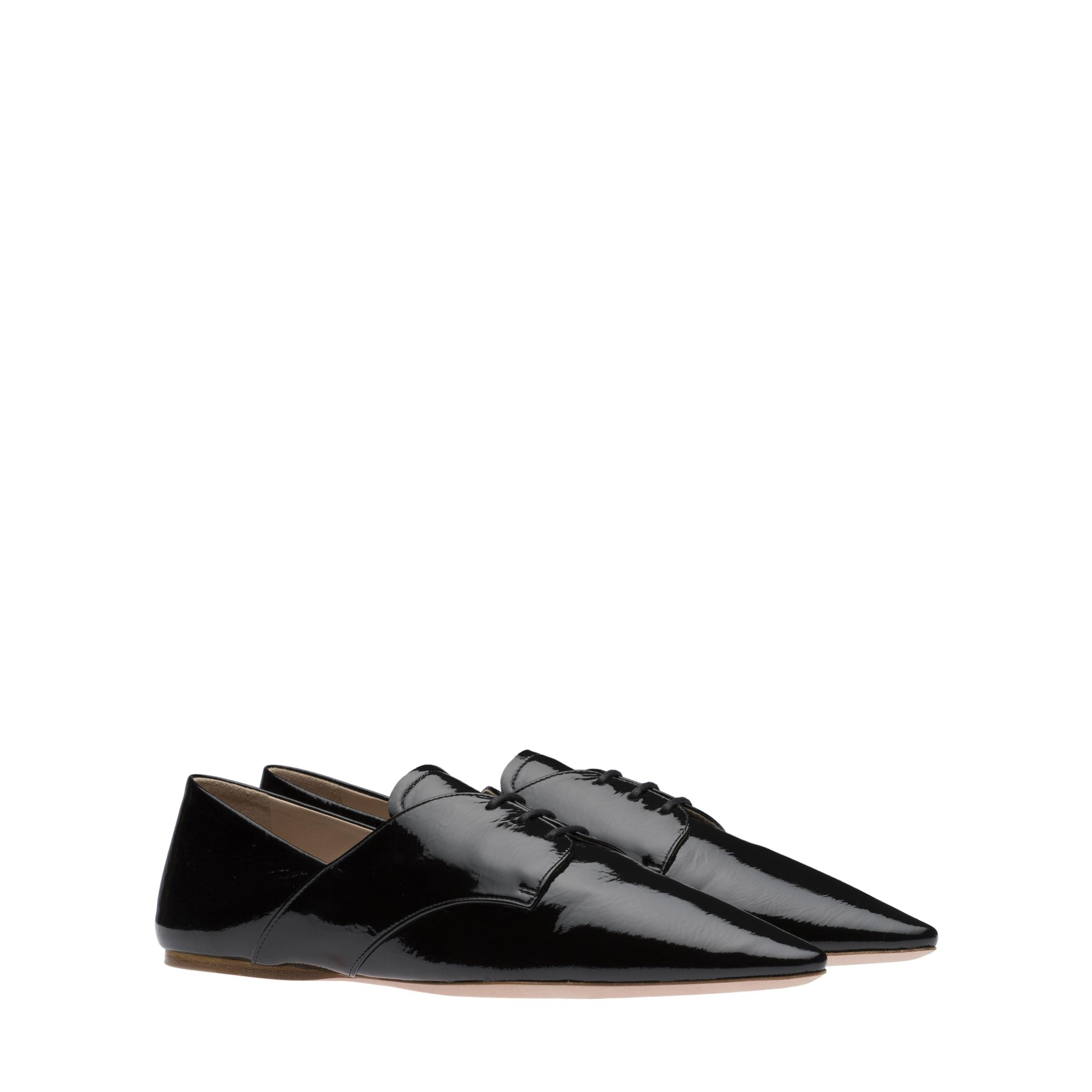 Patent Leather Laced Shoes Women Black