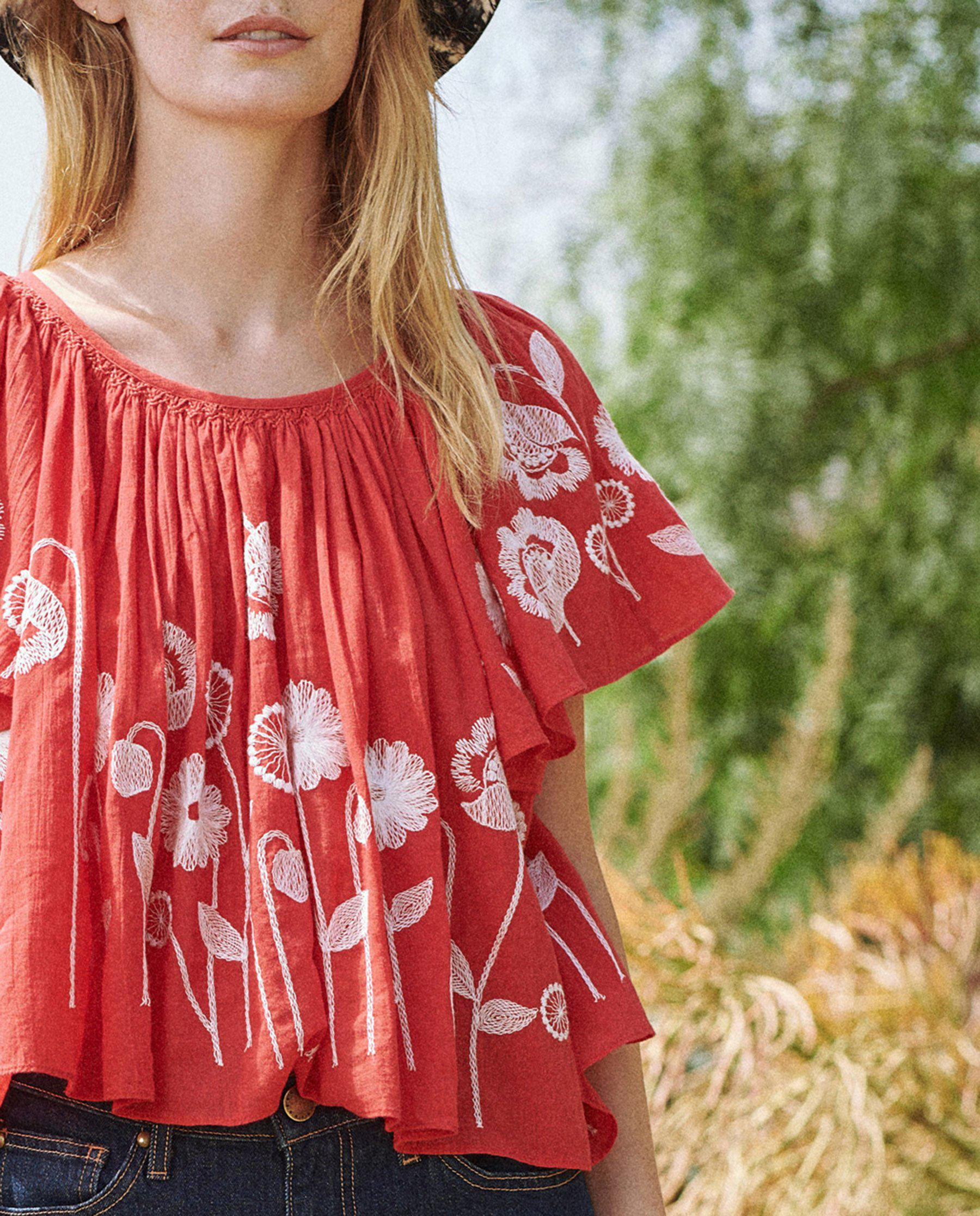 The Dale Top. -- Cherry Red with Trellis Floral Embroidery 3