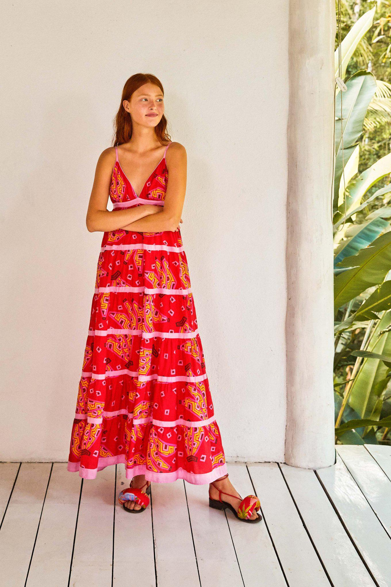 RED BANANAS MAXI TIERED DRESS 3