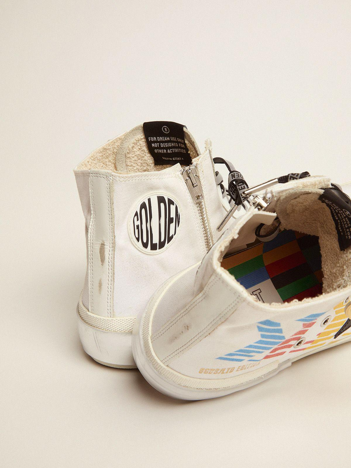 Francy Game EDT Capsule Collection sneakers with white canvas upper and multicolored screen print 3