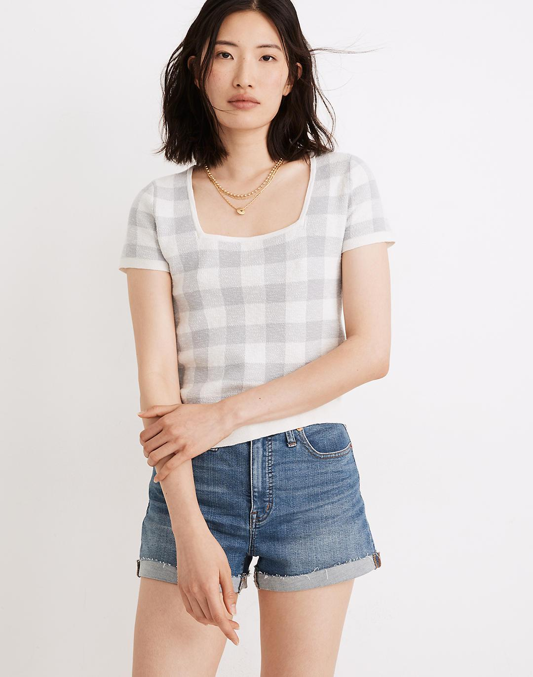 Square-Neck Sweater Tee in Gingham