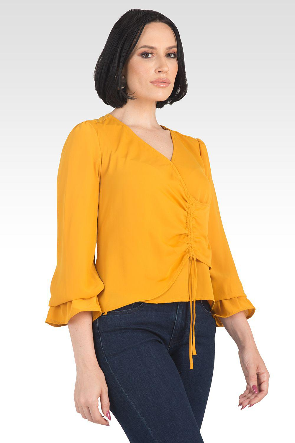Vera Solid Tie Front Flute Sleeve Blouse - Ginger 4