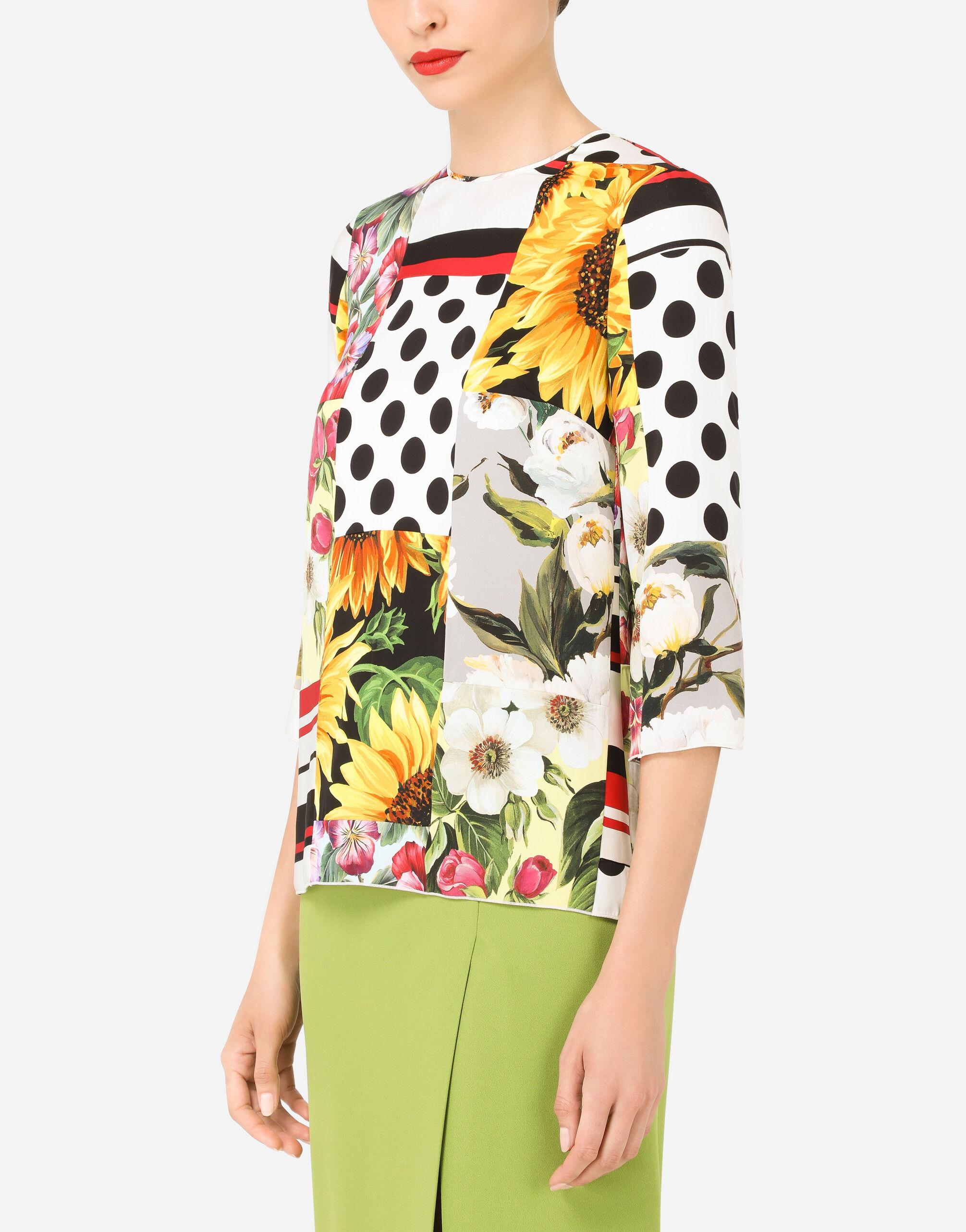 Patchwork charmeuse blouse 2