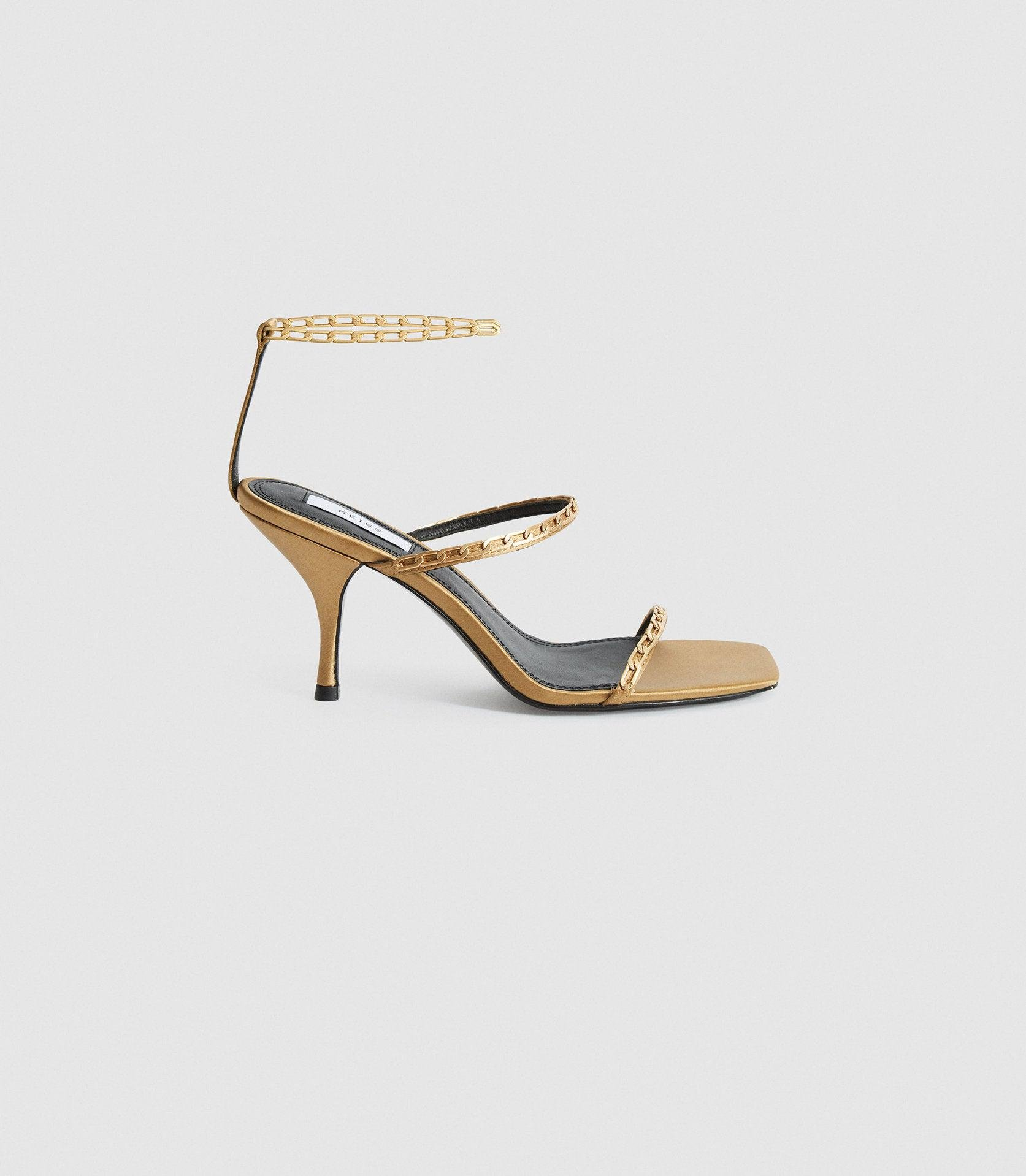 MAGDA CHAIN - SATIN STRAPPY HEELED SANDALS