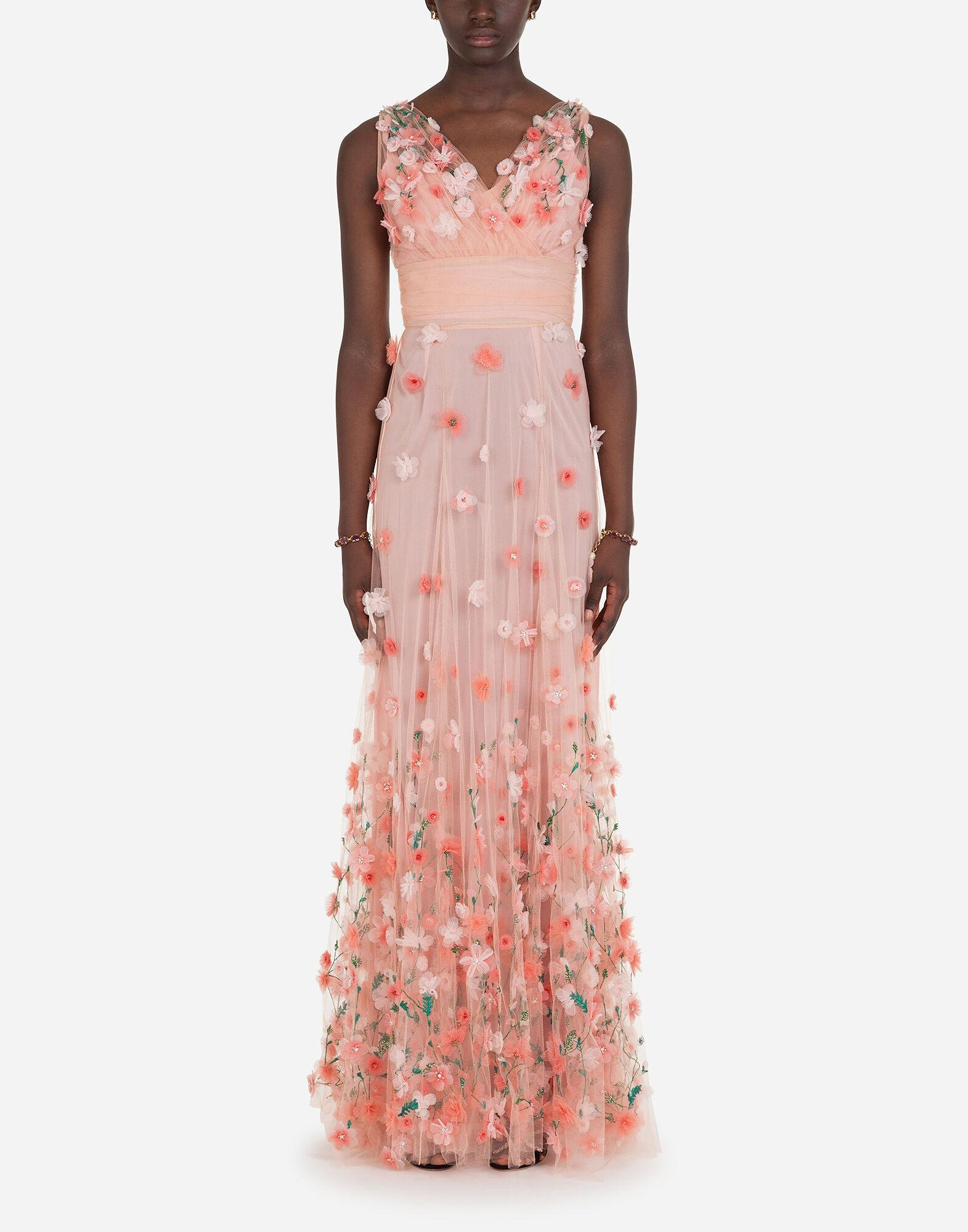Long dress in tulle with sequins and mini hand-embroidered flowers