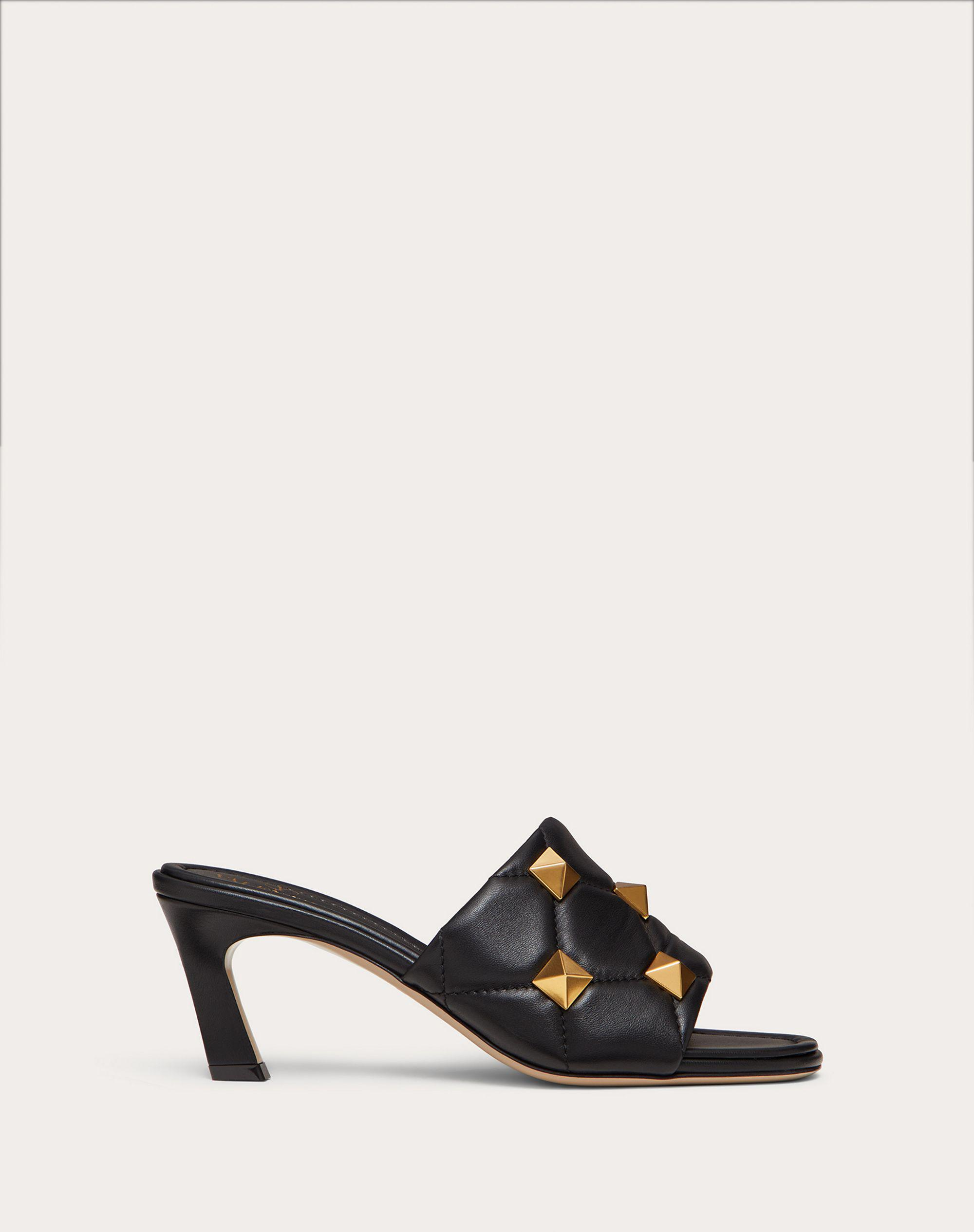 ROMAN STUD SLIDE SANDAL IN QUILTED NAPPA 65 MM