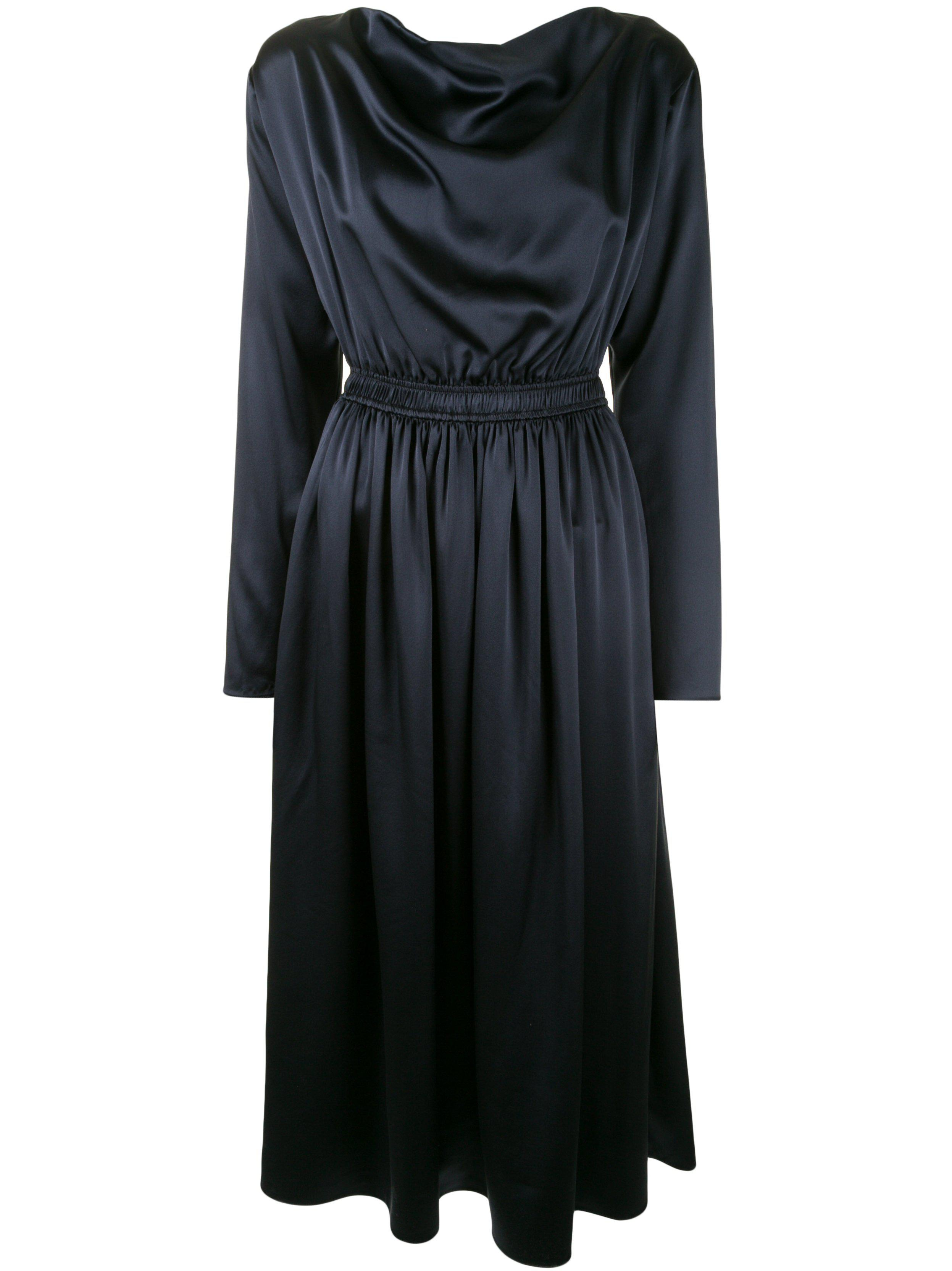 COWL NECK DRESS IN SILK CHARMEUSE 1