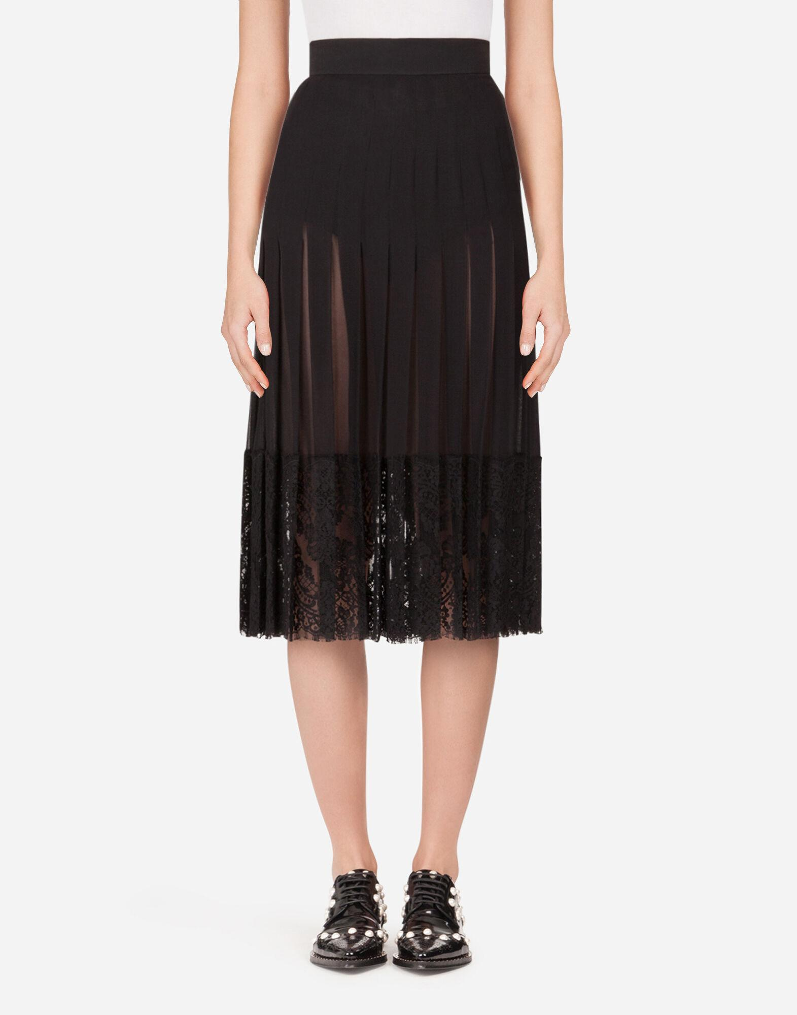 Long georgette skirt with lace edgings