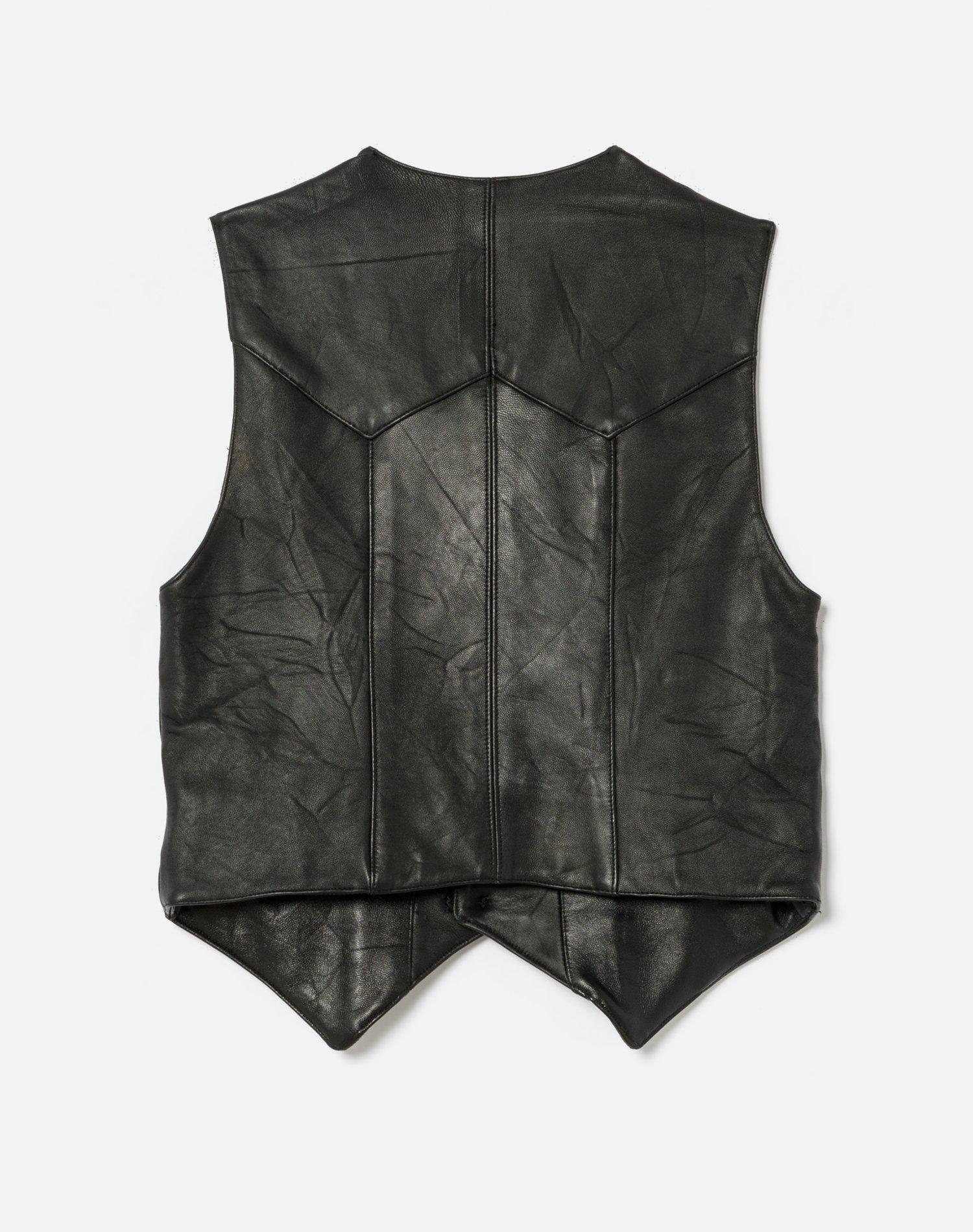 70s Upcycled Leather Vest 1